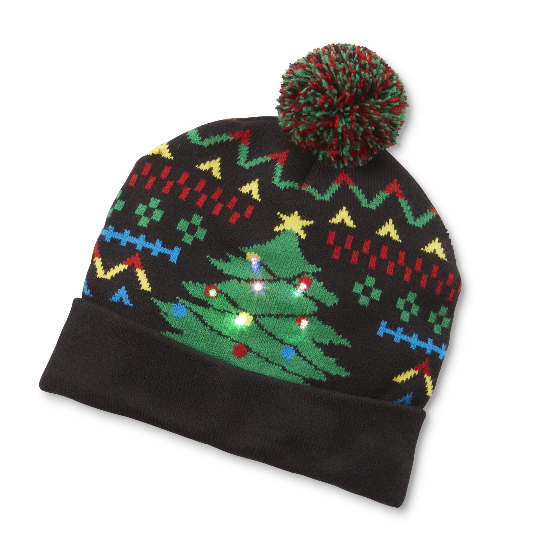 Holiday Editions Womens Light Up Knit Hat Christmas Tree