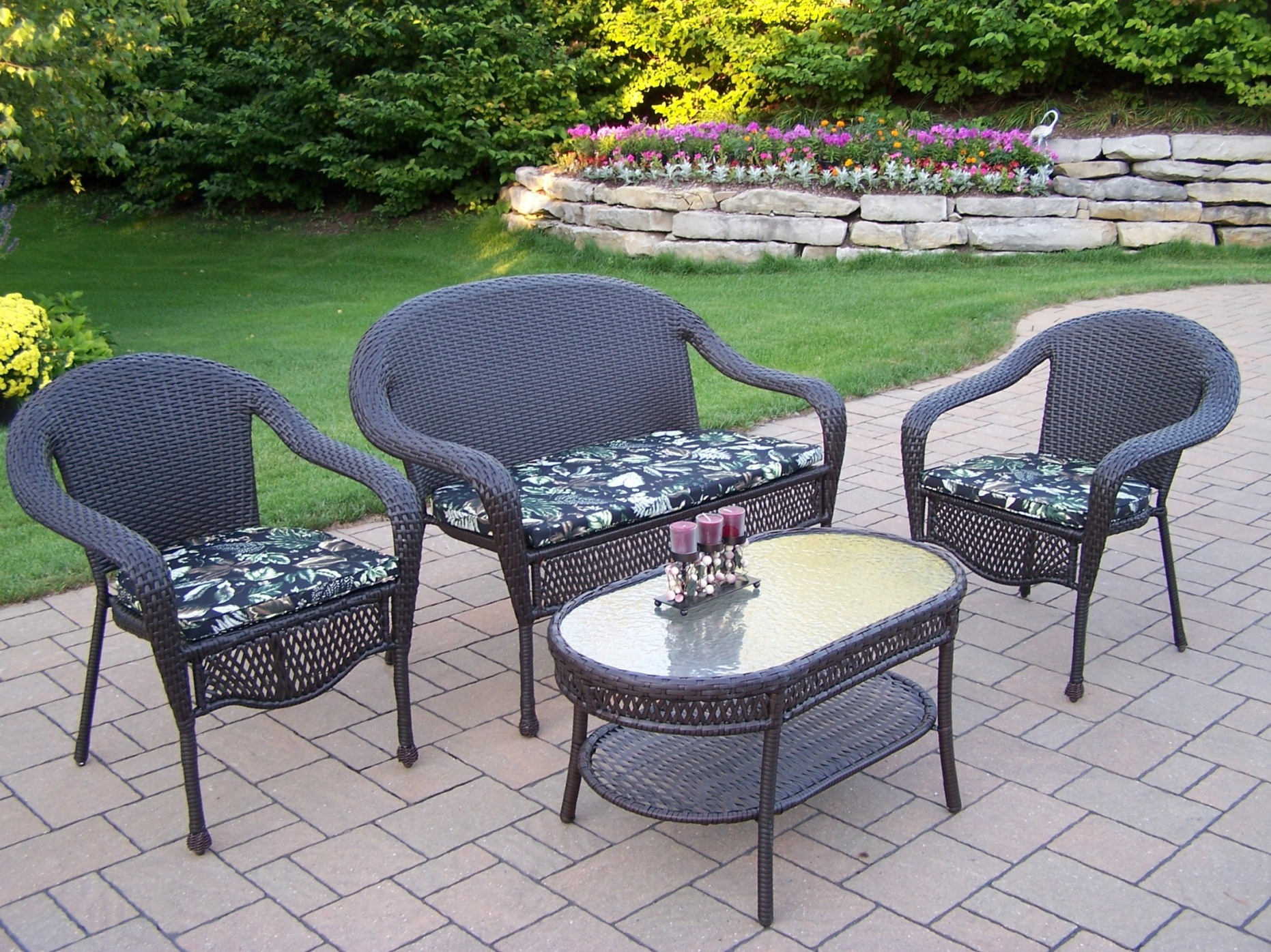 Oakland Living Resin Wicker 4 Pc. Seating Set with ... on Outdoor Living Wicker  id=72160