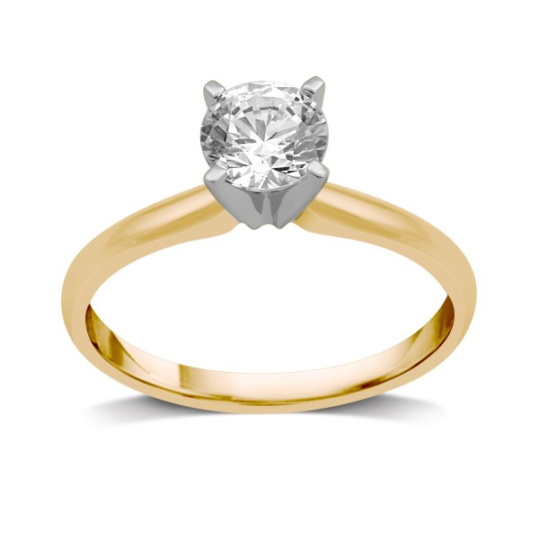 Rings   Sears Tradition Diamond 14K Yellow Gold 1 CT Diamond Round Solitaire Ring   Size  7 Only