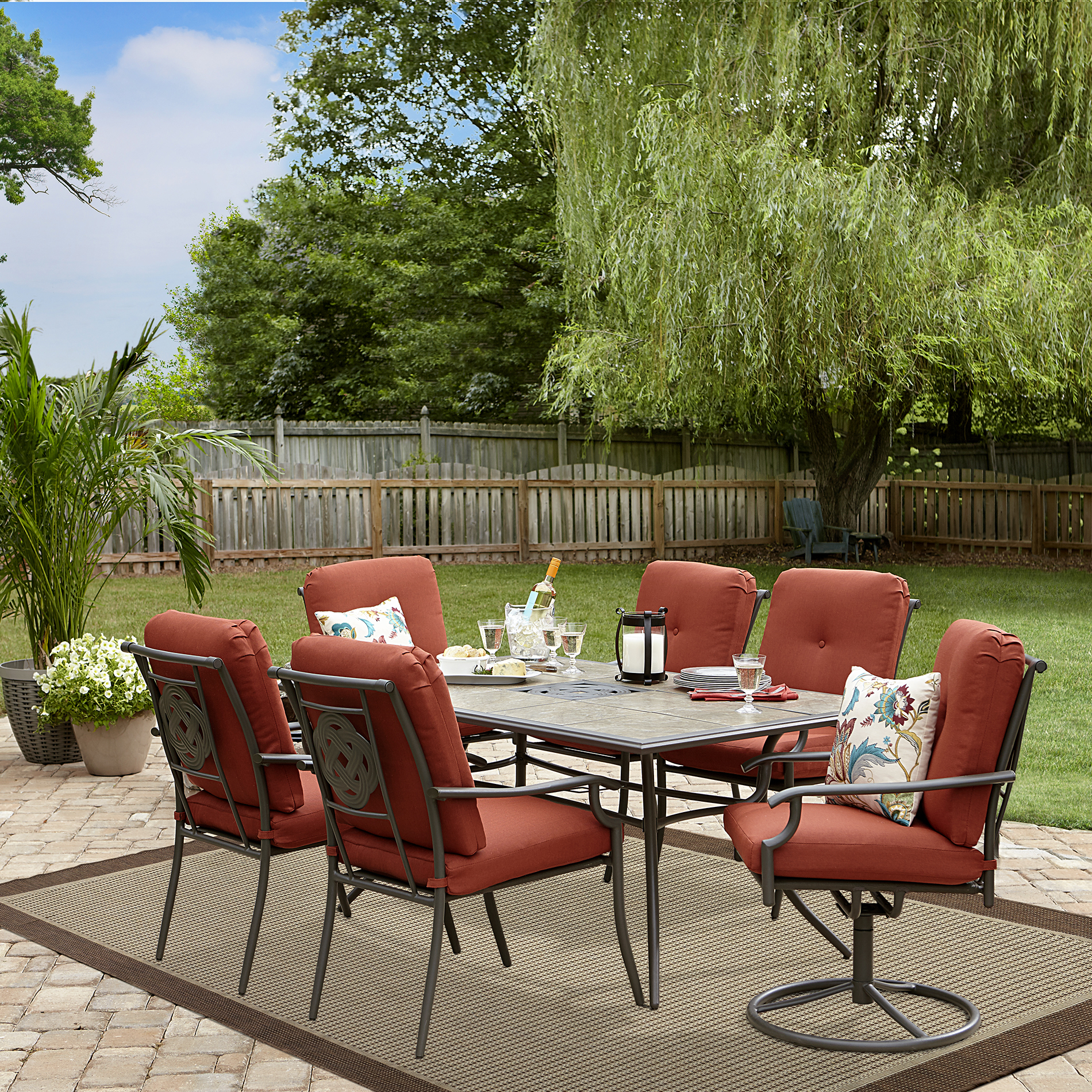 outdoor patio dining sets Garden Oasis Brookston 7 Piece Dining Set- Terracotta