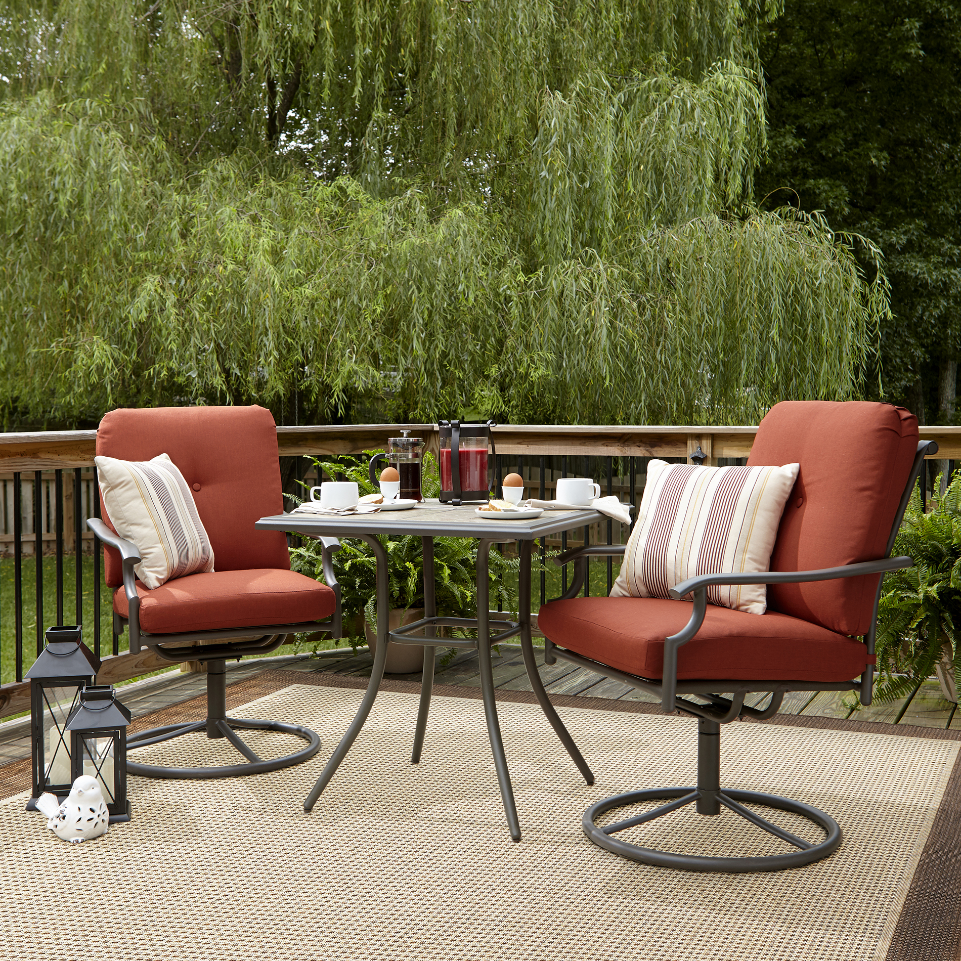 sears patio furniture sets Garden Oasis Brookston 3 Piece Bistro Set- Terracotta