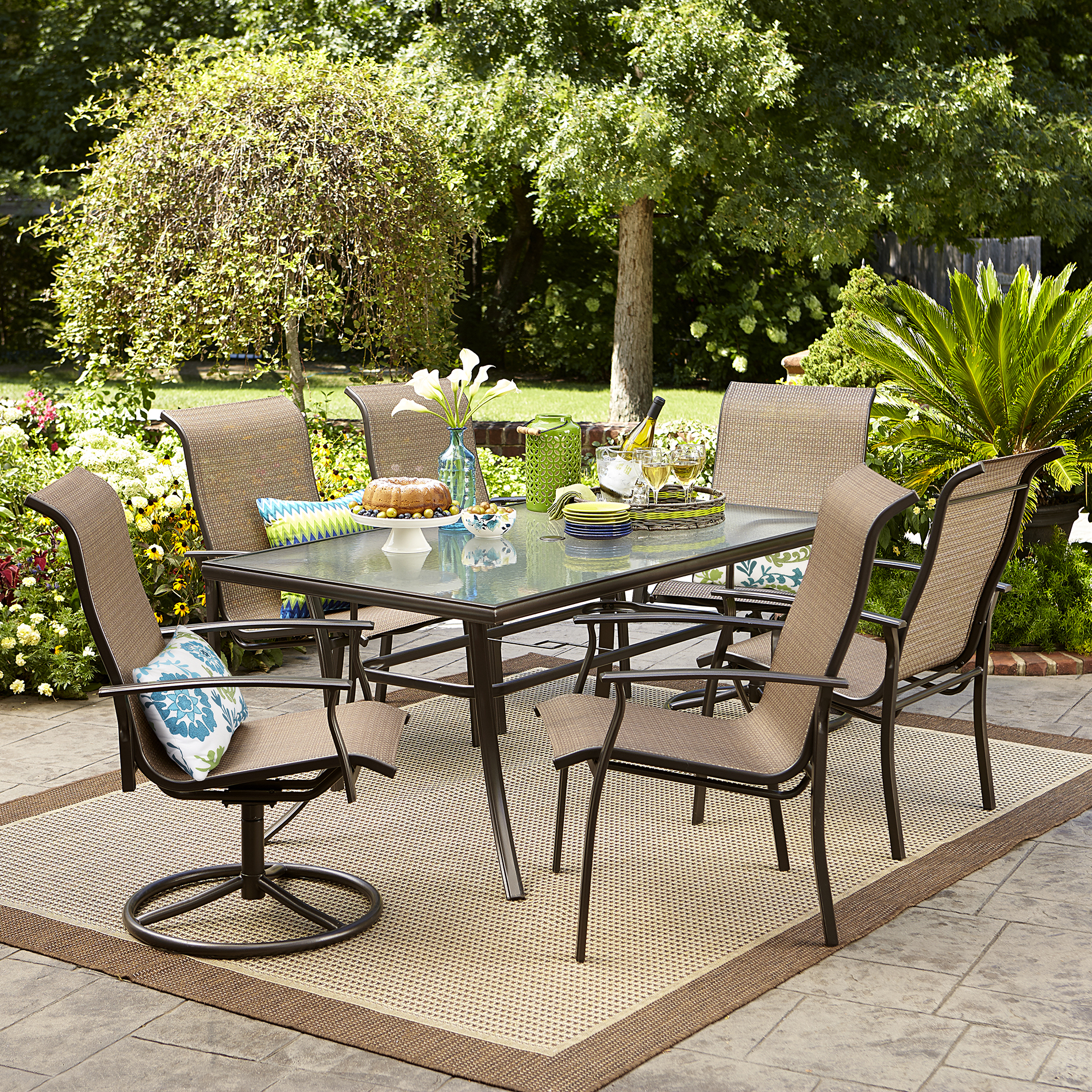 outdoor patio dining set furniture Garden Oasis Harrison 7 pc. Textured Glass-Top Dining Set