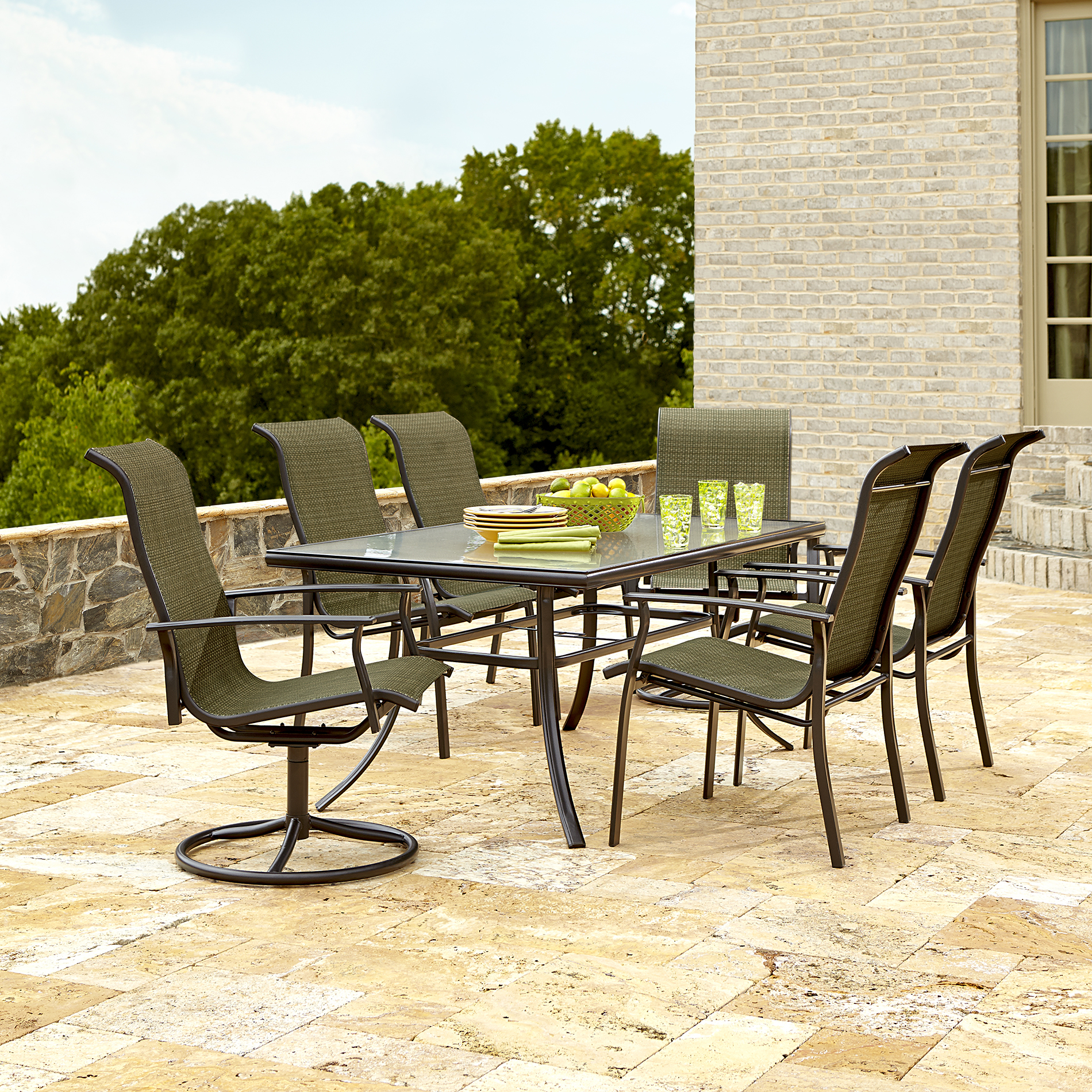 sears patio furniture dining sets Garden Oasis Harrison 7 Piece Dining Set in Green - Sears
