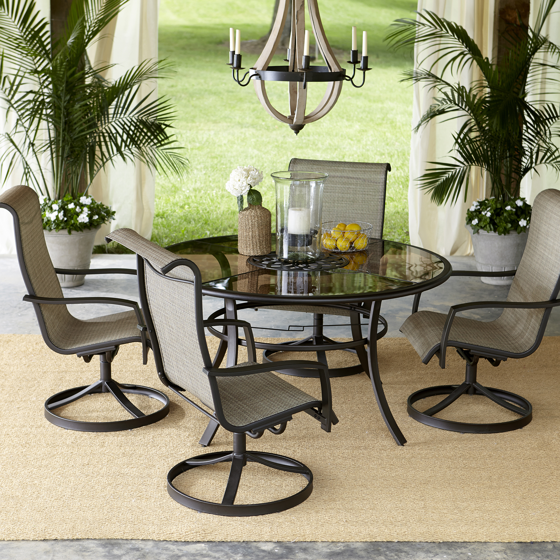 outdoor patio dining sets Garden Oasis Providence 5 Piece Swivel Dining Set