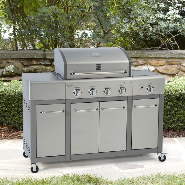 Natural Gas Grills   Propane Grills   Sears Kenmore 4 Burner Gas Grill with Storage   Stainless Steel