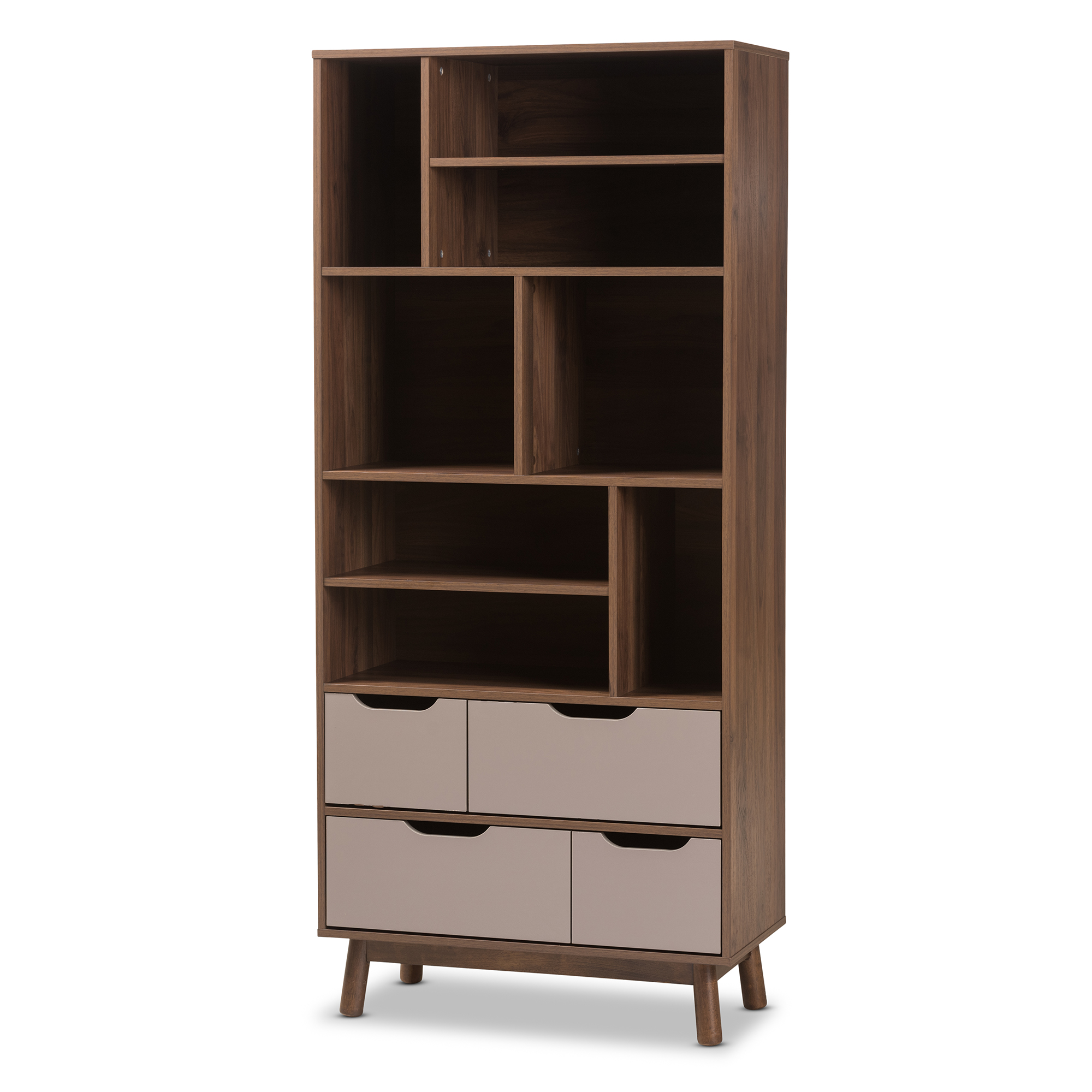 Baxton Studio Britta Mid Century Modern Walnut Brown And