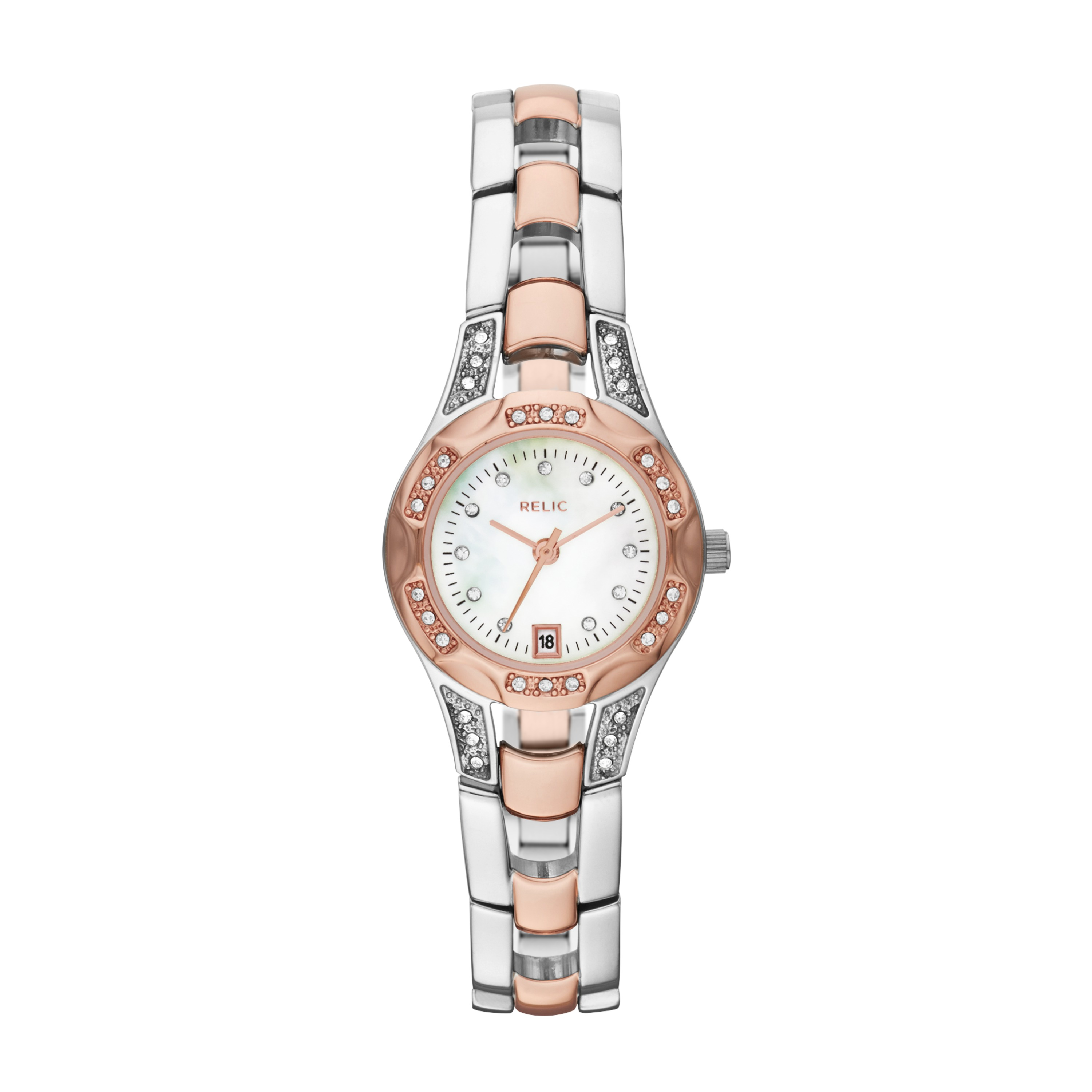 Relic Ladies Calendar Date Watch With White Mother Of