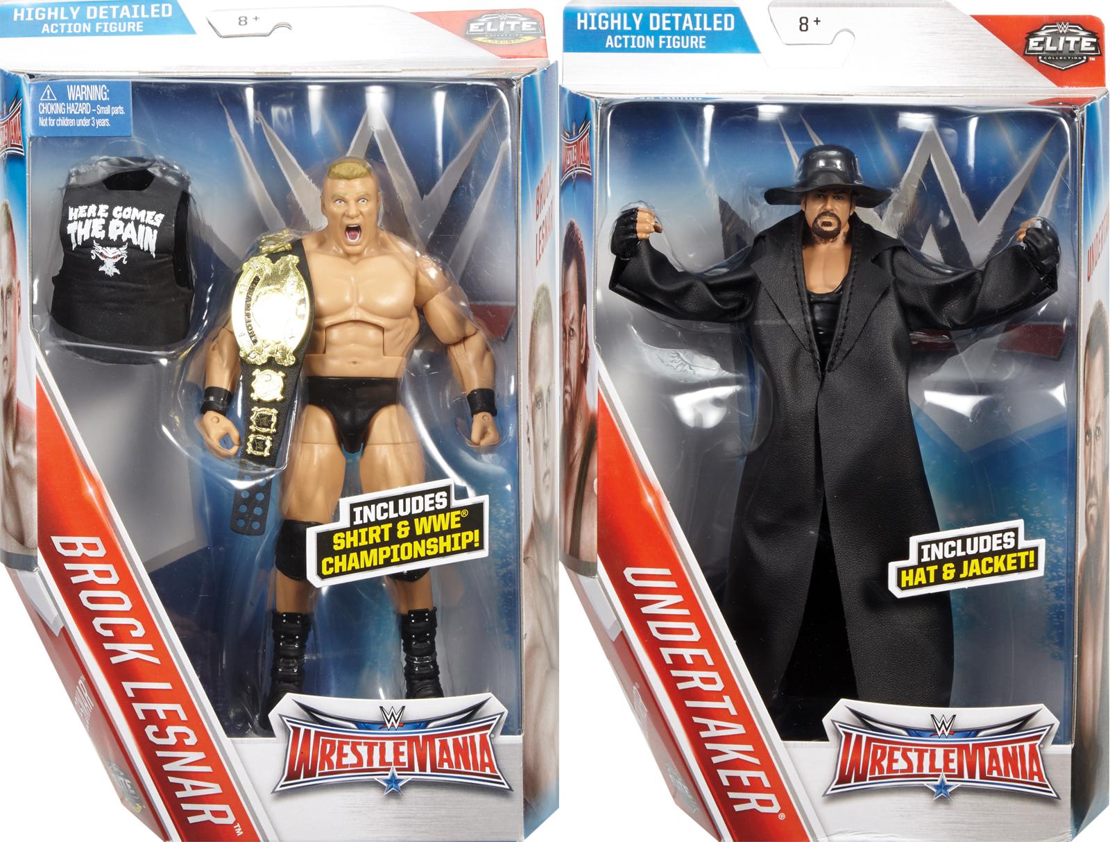 WWE Undertaker Amp Brock Lesnar Elite WrestleMania 32 Flashback Toy Wrestling Action Figures