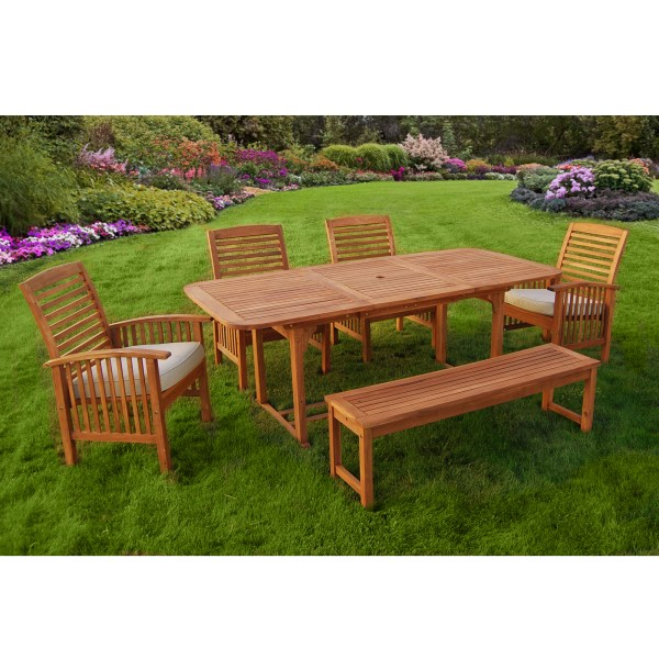 Walker Edison 6 Piece Acacia Wood Patio Dining Set with Cushions     Walker Edison 6 Piece Acacia Wood Patio Dining Set with Cushions