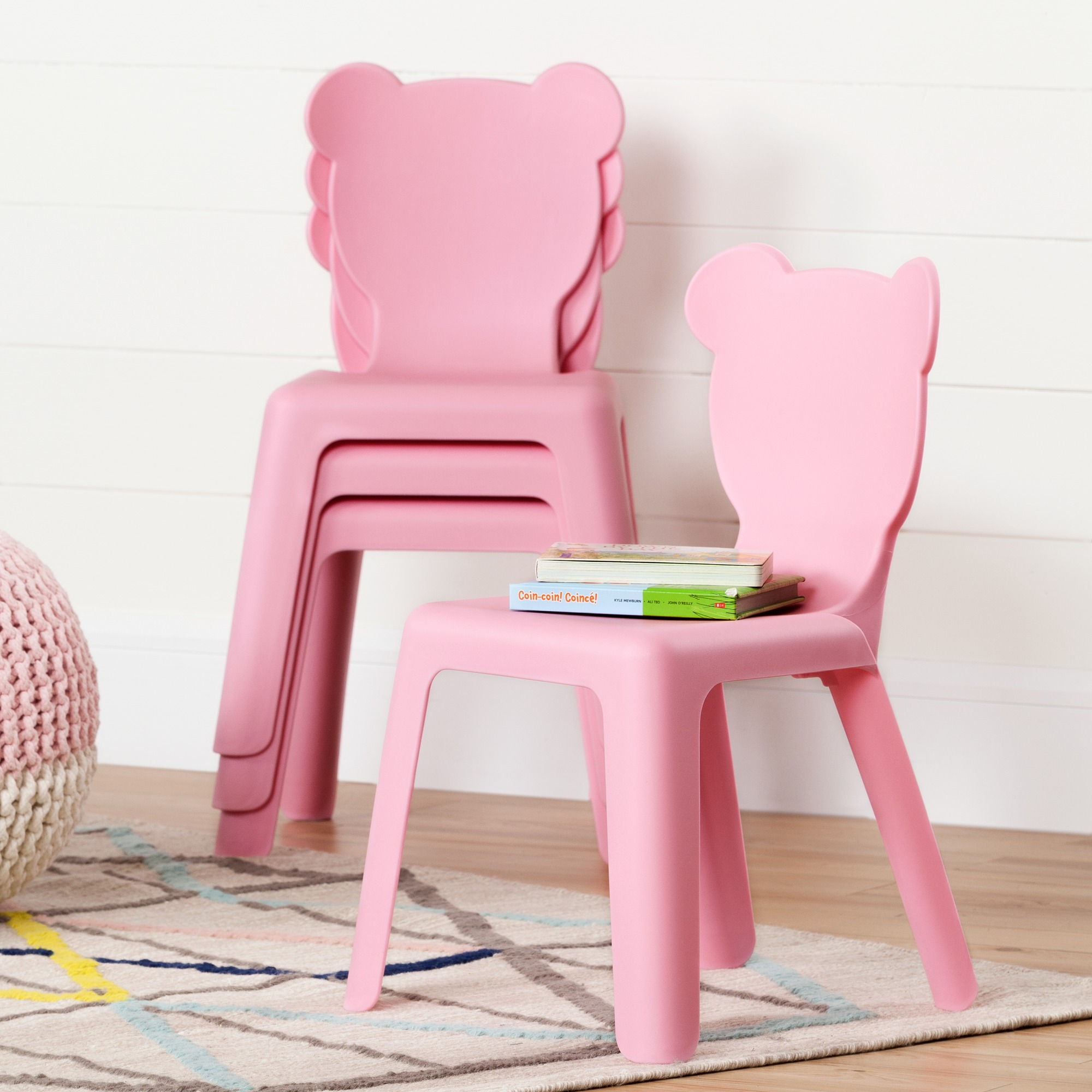 South Shore South Shore Crea Pink Kids Plastic Stacking Chairs 4 Pack