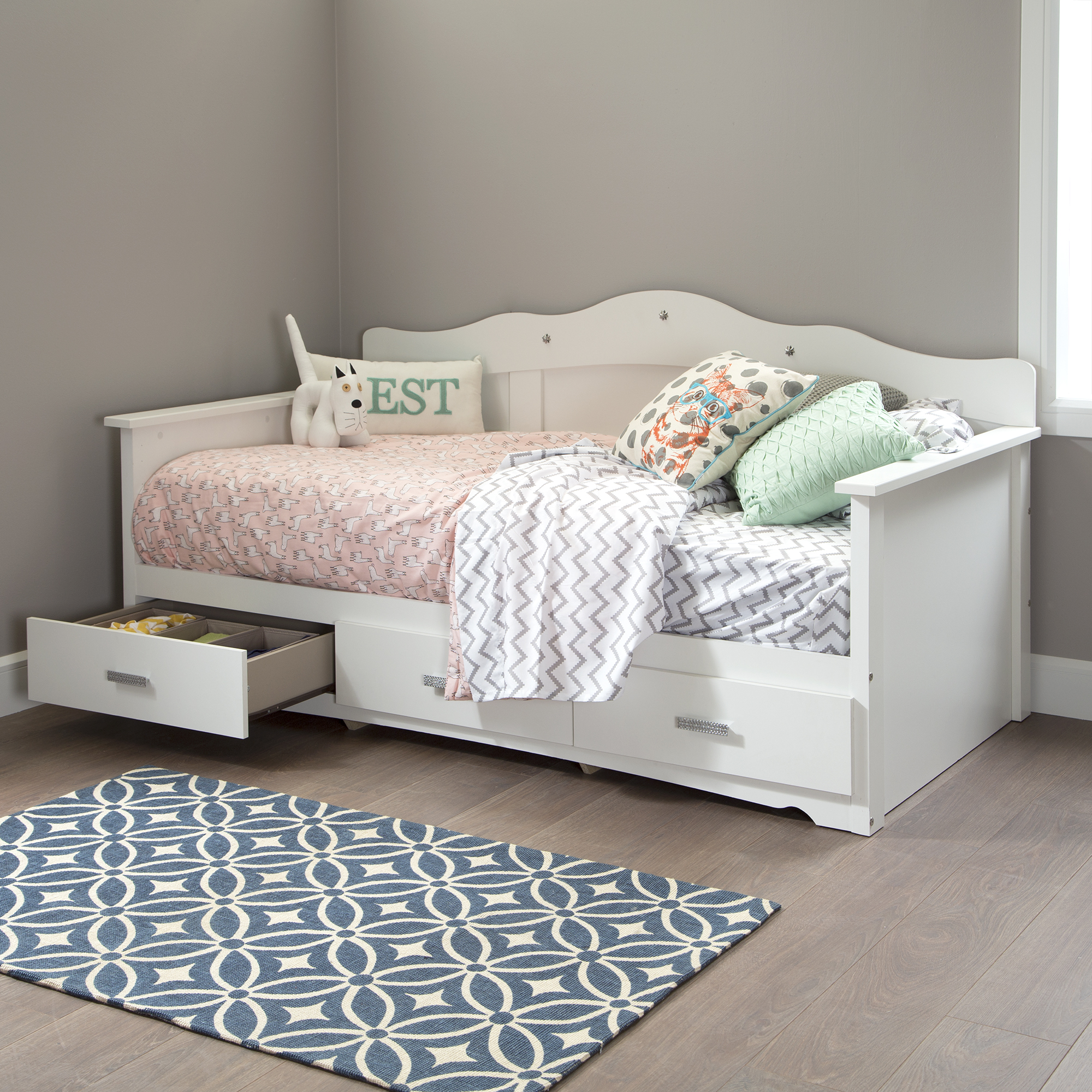 South Shore Tiara Twin Daybed With Storage 39 Quot Pure