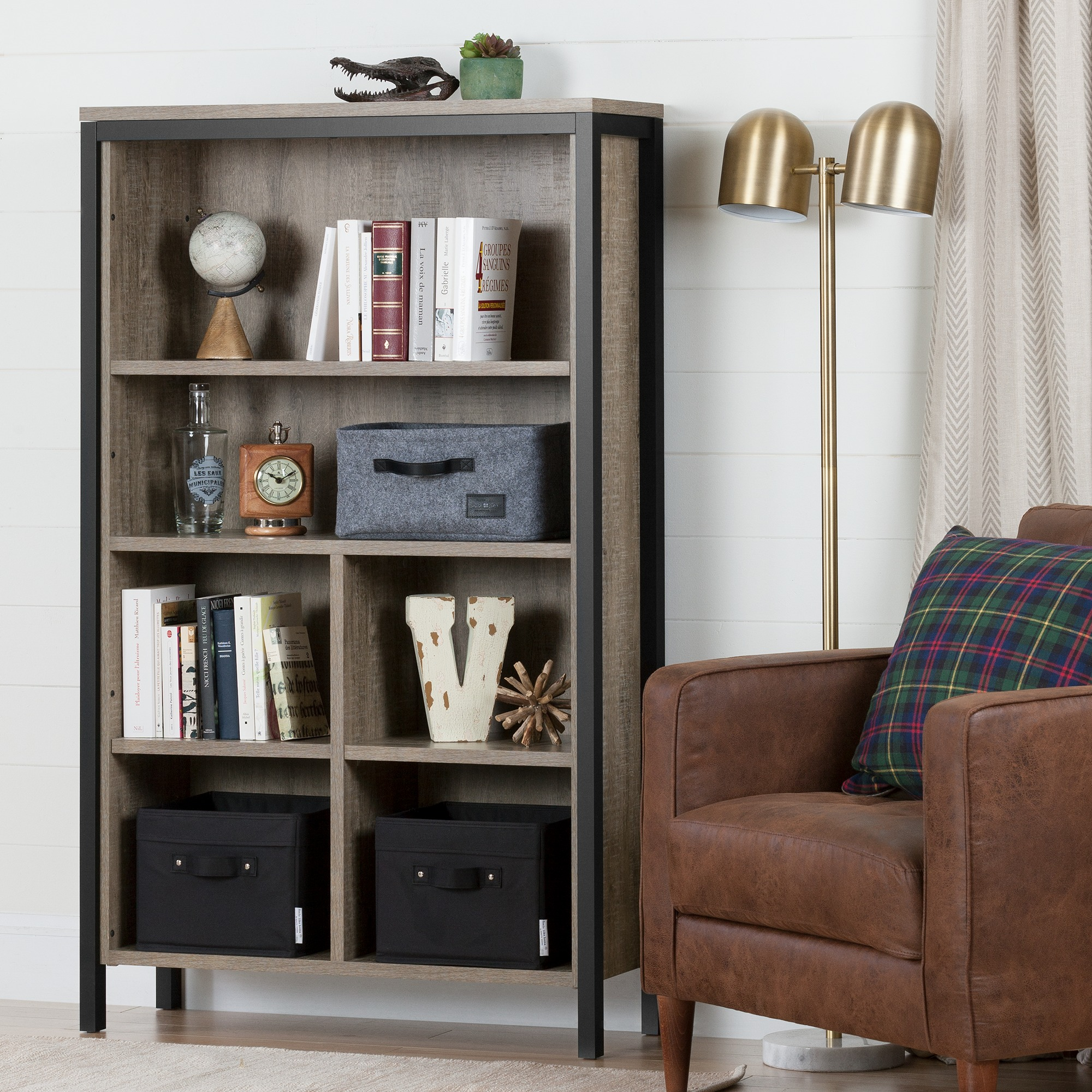 South Shore Munich 6 Shelf Bookcase With Cubes Weathered