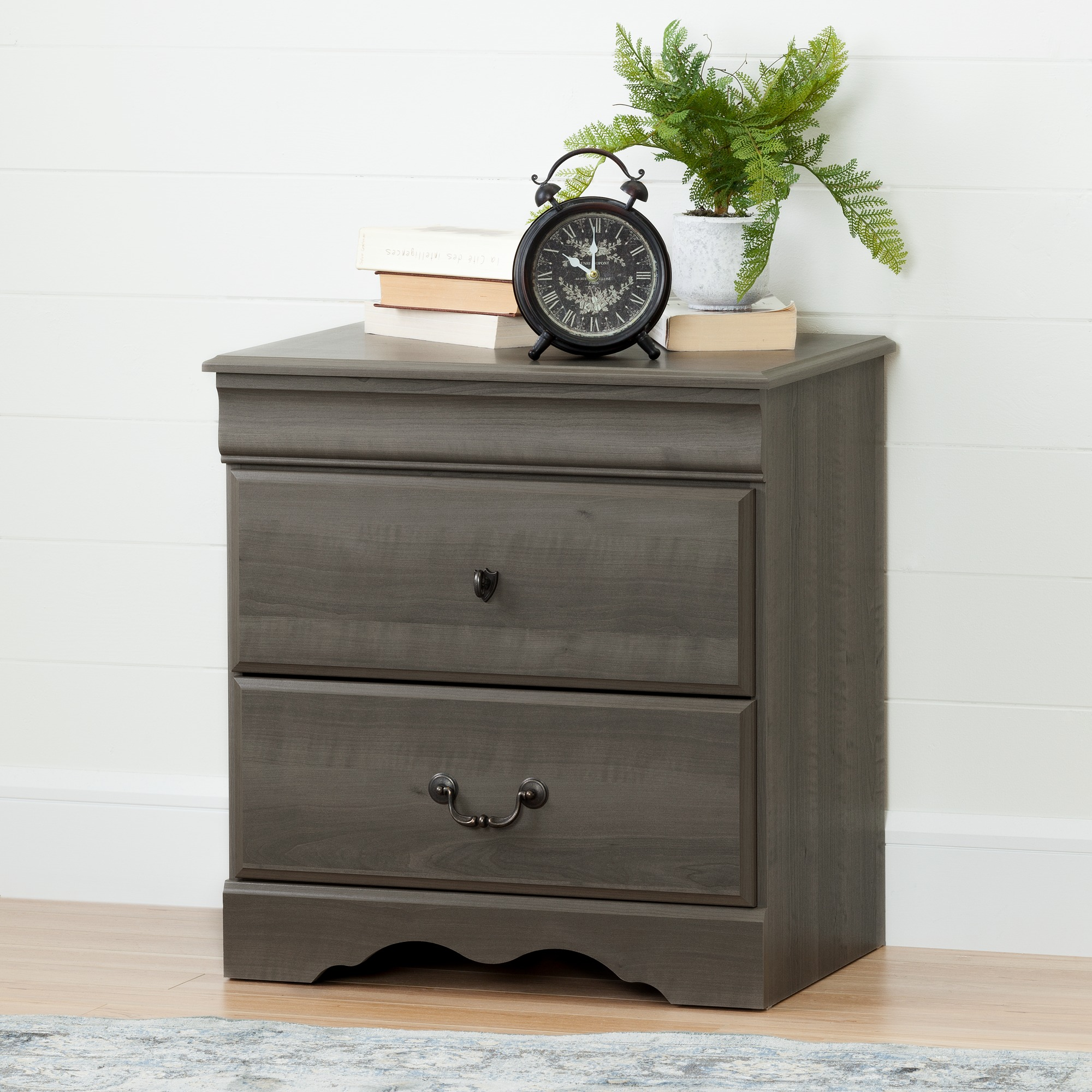 South Shore Vintage 2 Drawer Nightstand Gray Maple