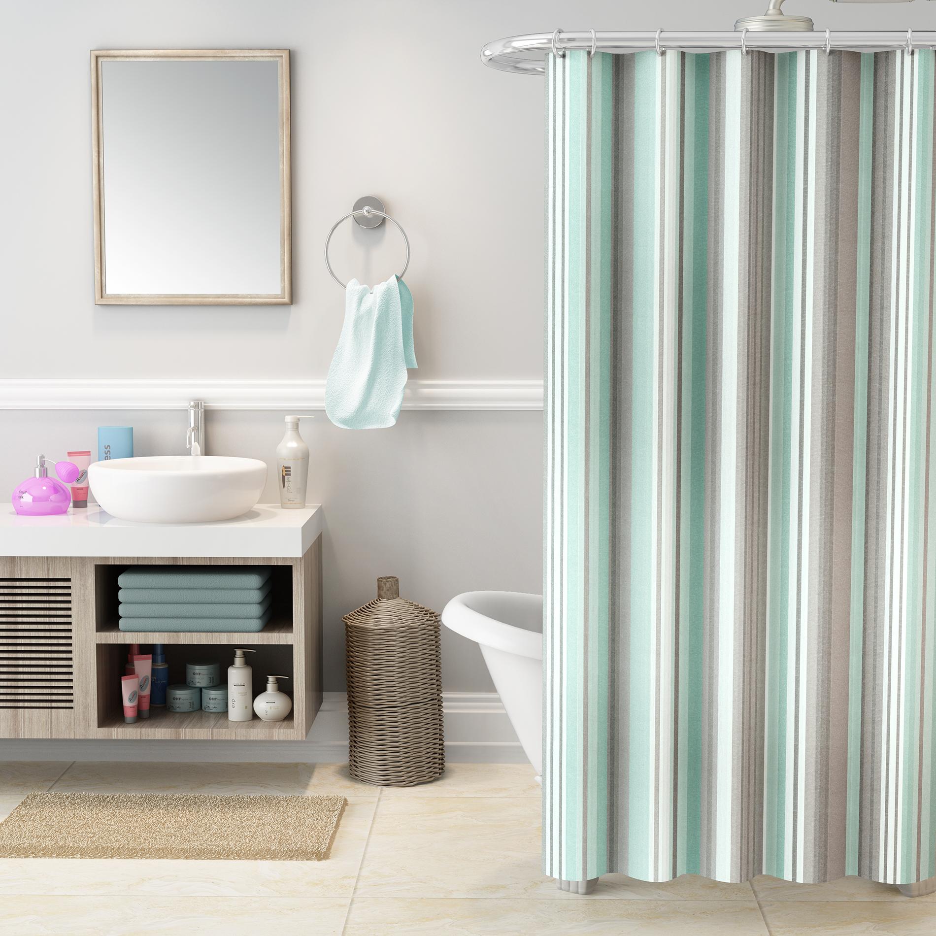 Cannon Striped Shower Curtain Multicolor