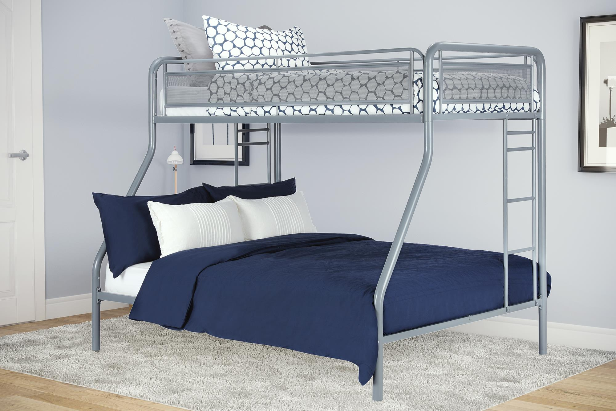 Dorel Home Furnishings Rockstar Silver Twin Over Full Bunk