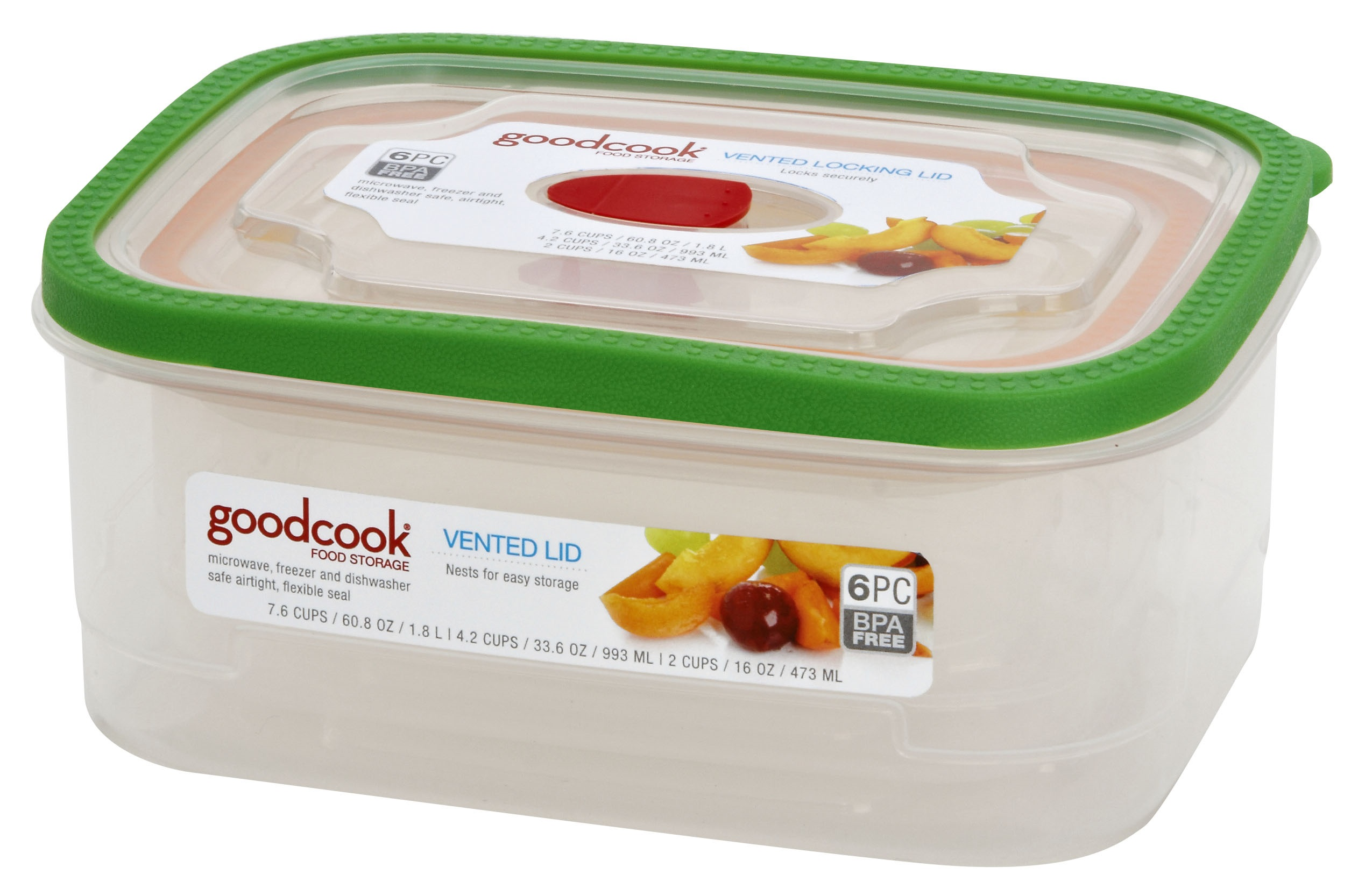 Good Cook 6 Pc Rectangle Food Storage Containers