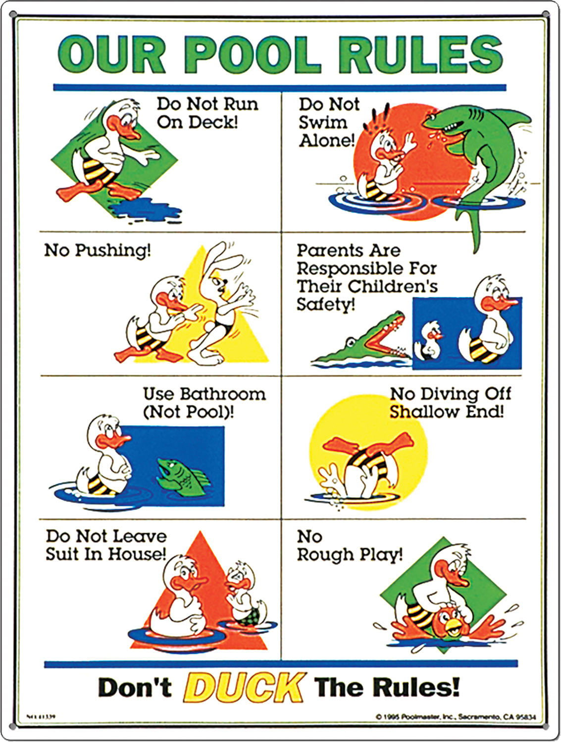 Poolmaster Pool Rules Sign Duck Animation
