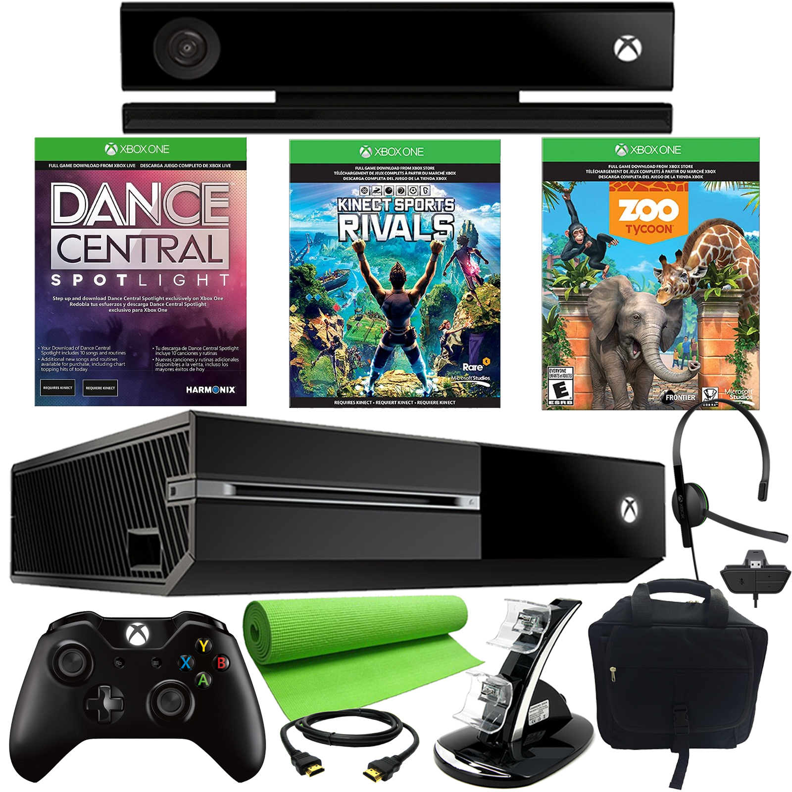 Microsoft Xbox One 500GB 3 Game Kinect Holiday Bundle With Accessories Green TVs