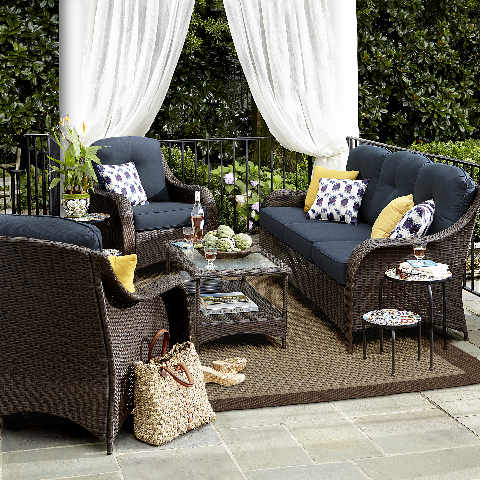 small outdoor patio furniture sets Grand Resort Summerfield 4 Pc. Seating Set- Denim *Limited