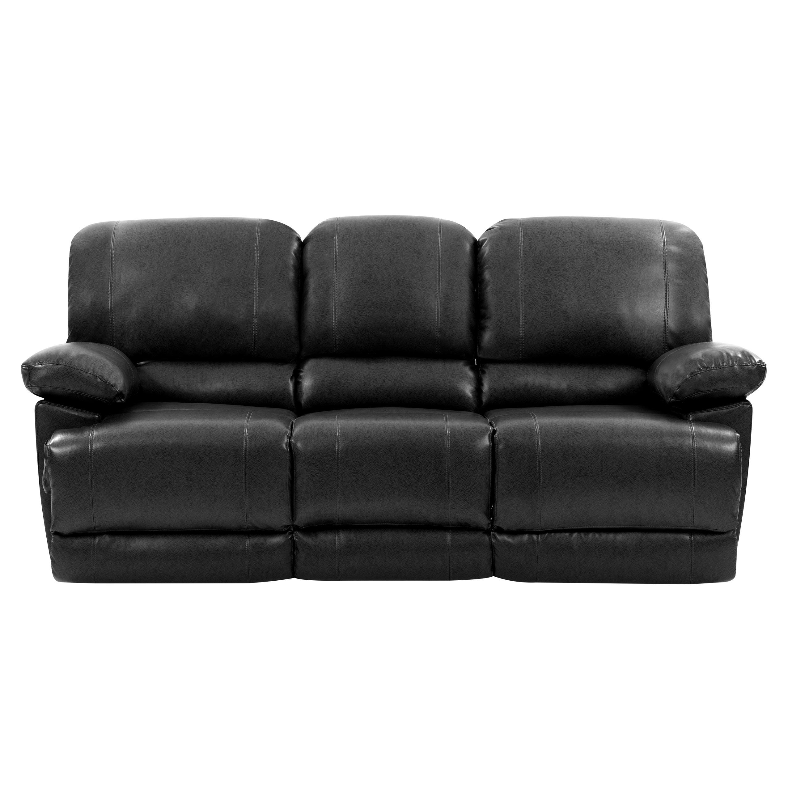 Corliving Plush Power Reclining Black Bonded Leather Sofa