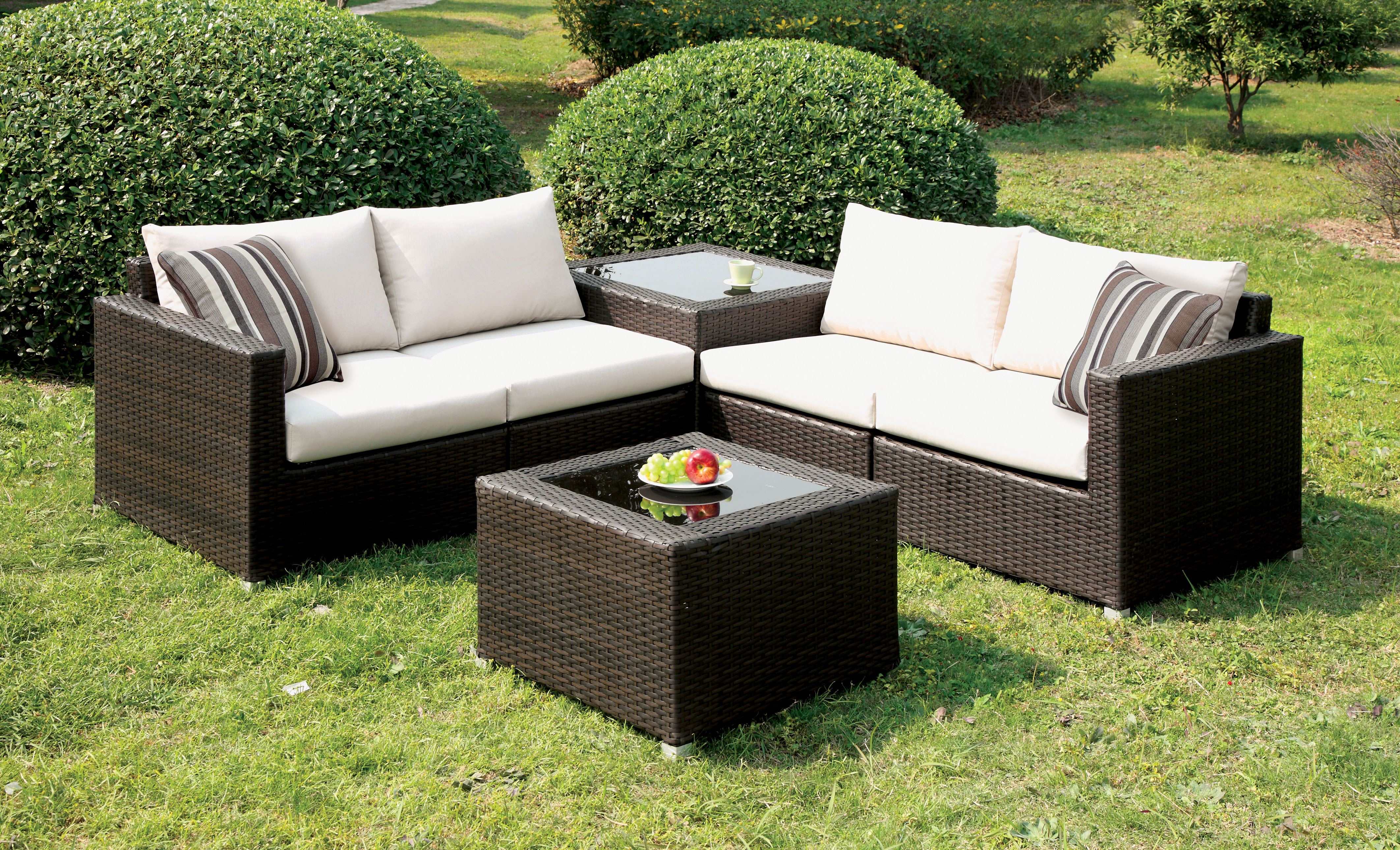 Furniture of America Arbore 4 Piece Patio Sectional Set ... on Casual Living Patio id=27828