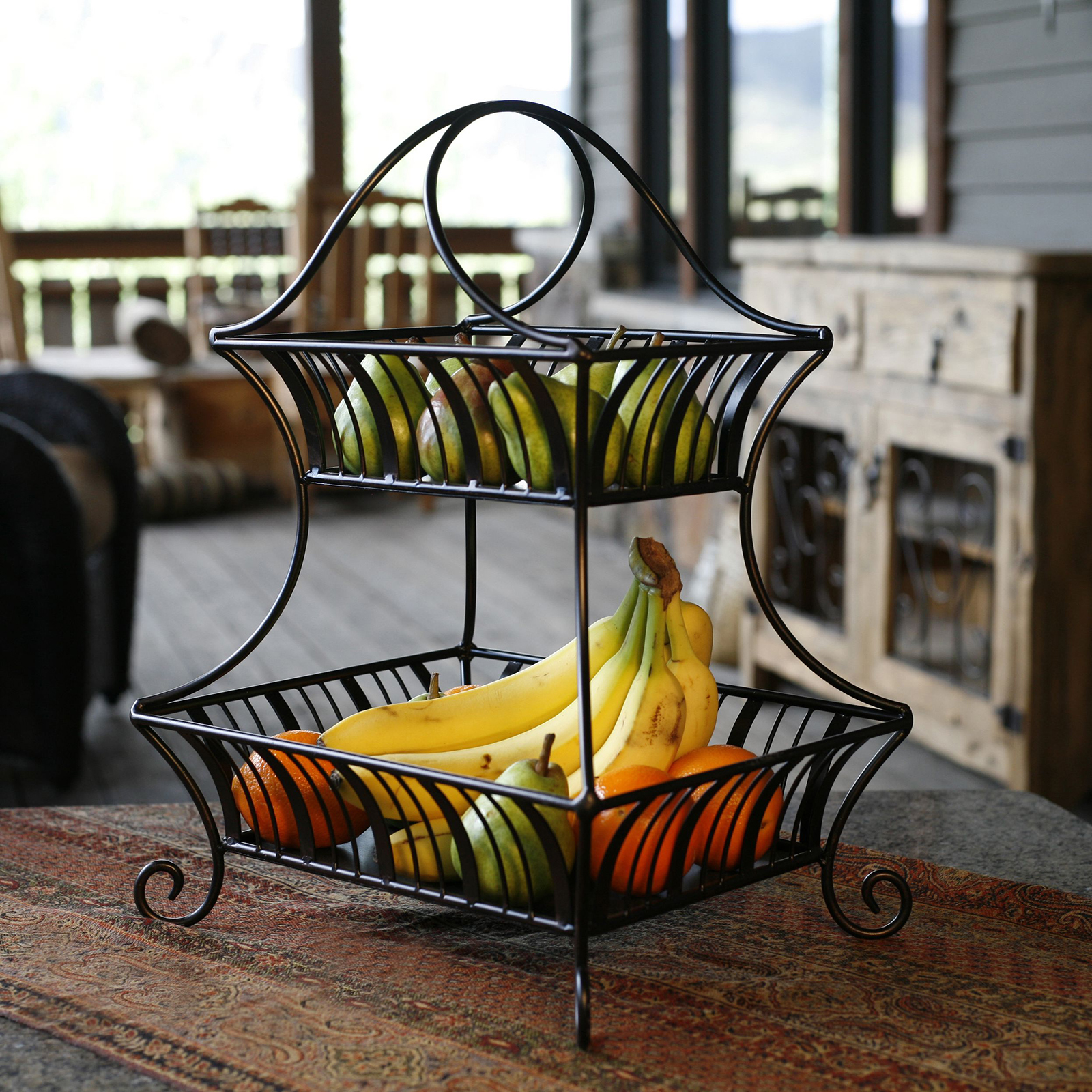 Mesa International Delaware Collection 2 Tier Fruit Basket on Iron Stand Ideas  id=23865