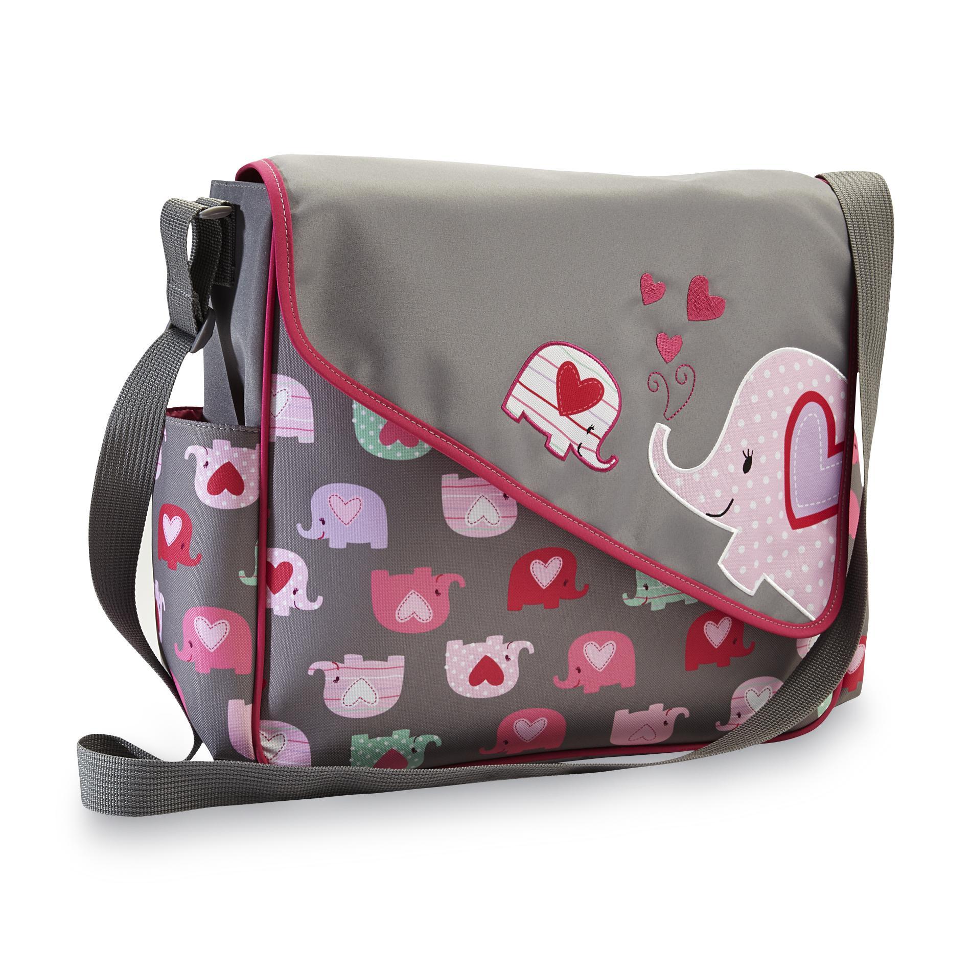 Messenger Diaper Bag & Changing Pad - Elephants