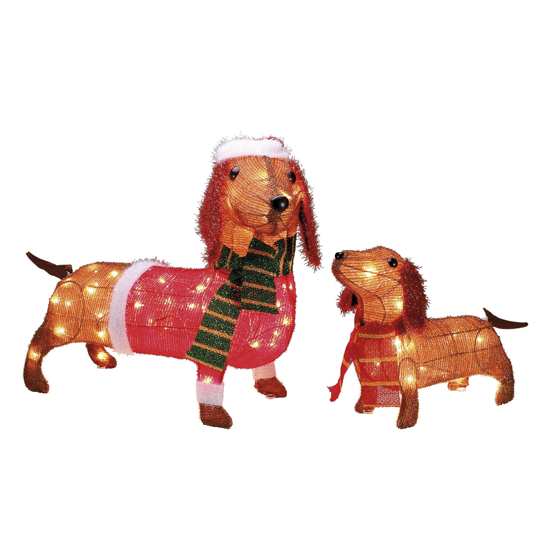 Set Of 2 Light Up Wiener Dogs Outdoor Decoration Set