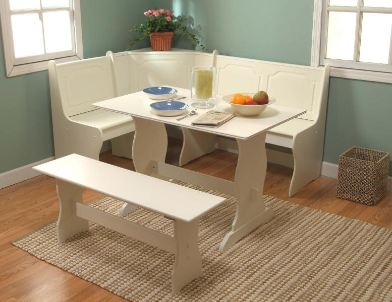 3 pc  Nook Dining Set   Antique White Nook Dining Set   Antique White