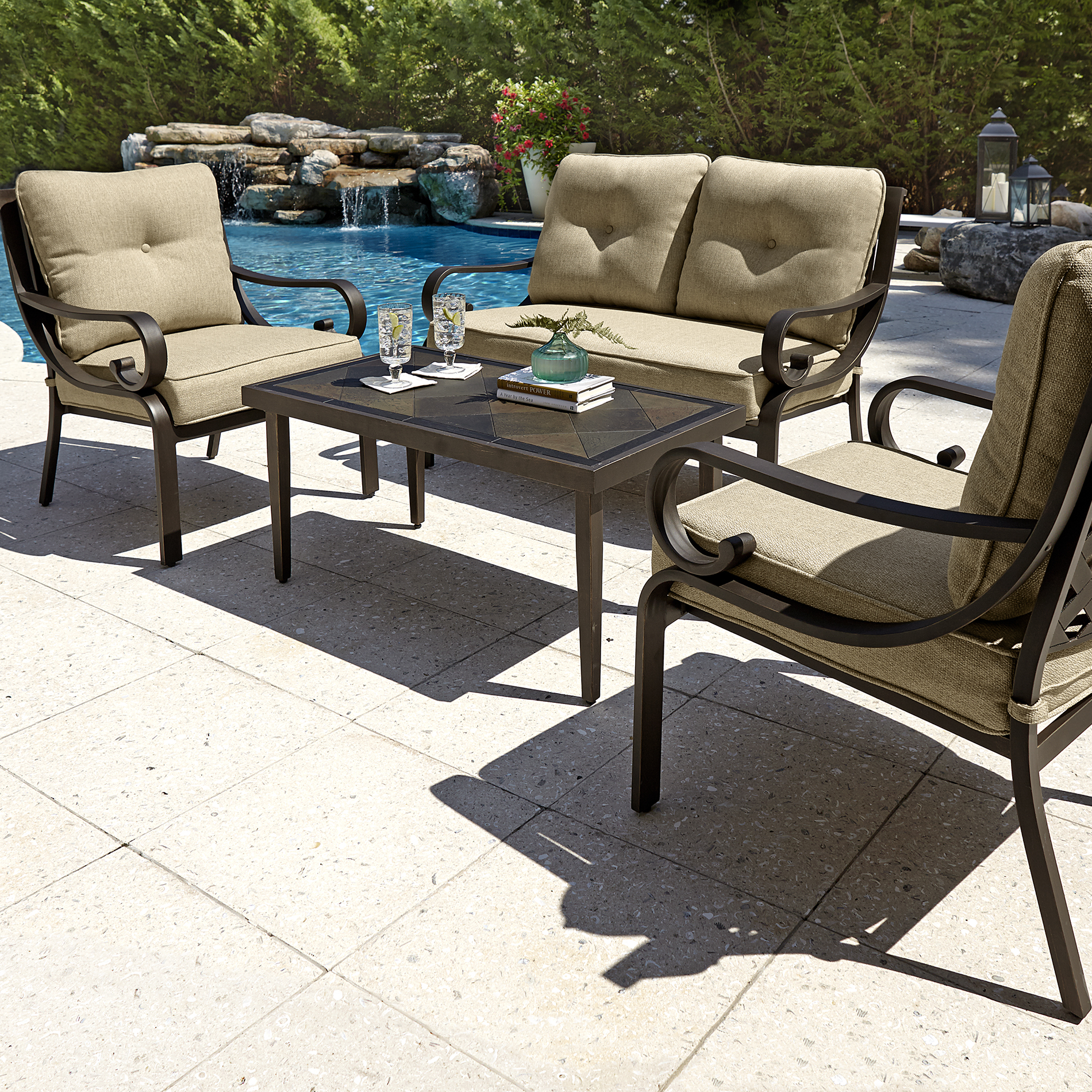 Grand Resort Aspen 4pc Cushion Seating Set with Coffee ... on Outdoor Living Ltd  id=85250