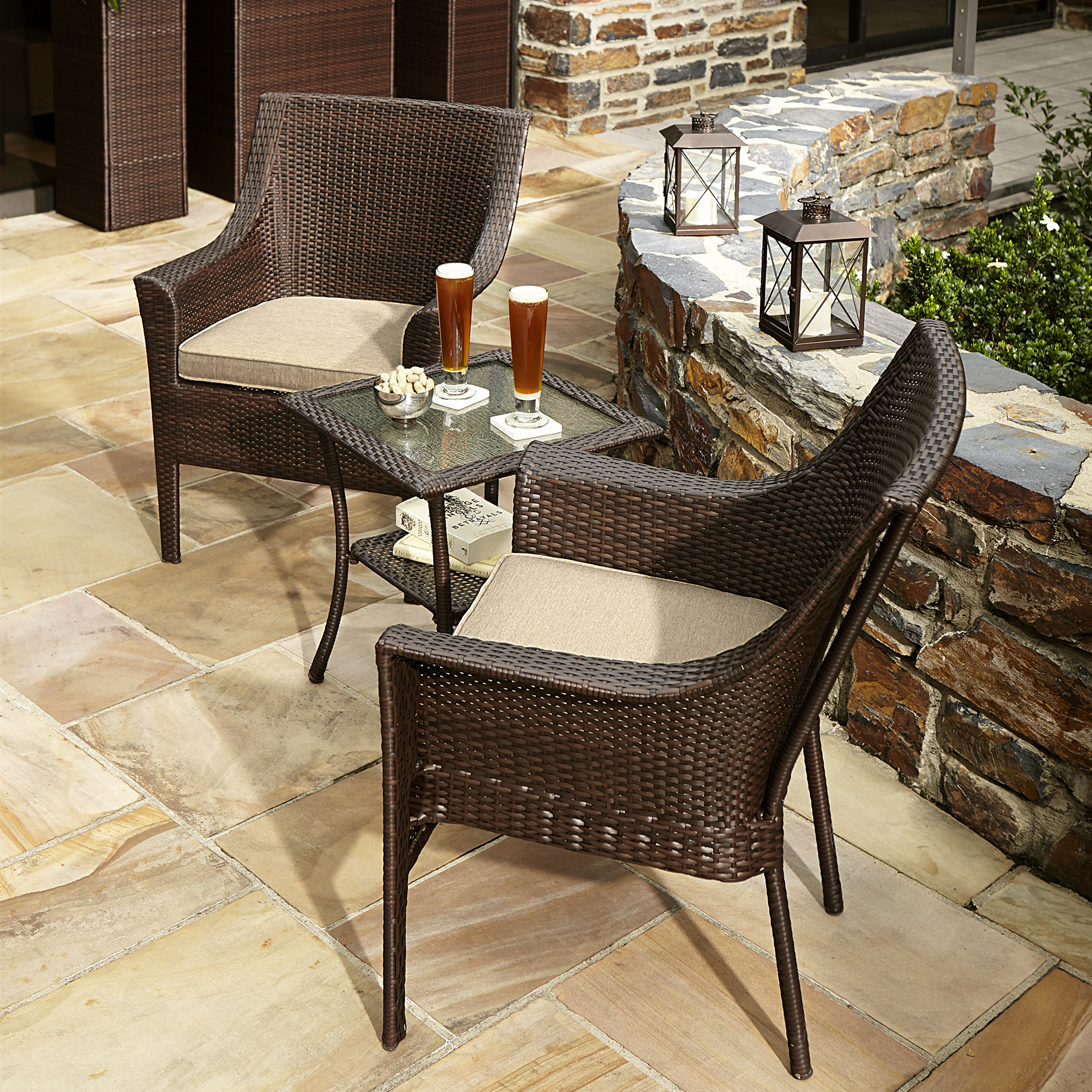 small outdoor patio furniture sets Ty Pennington Style Parkside 3 Piece Bistro Set - Outdoor