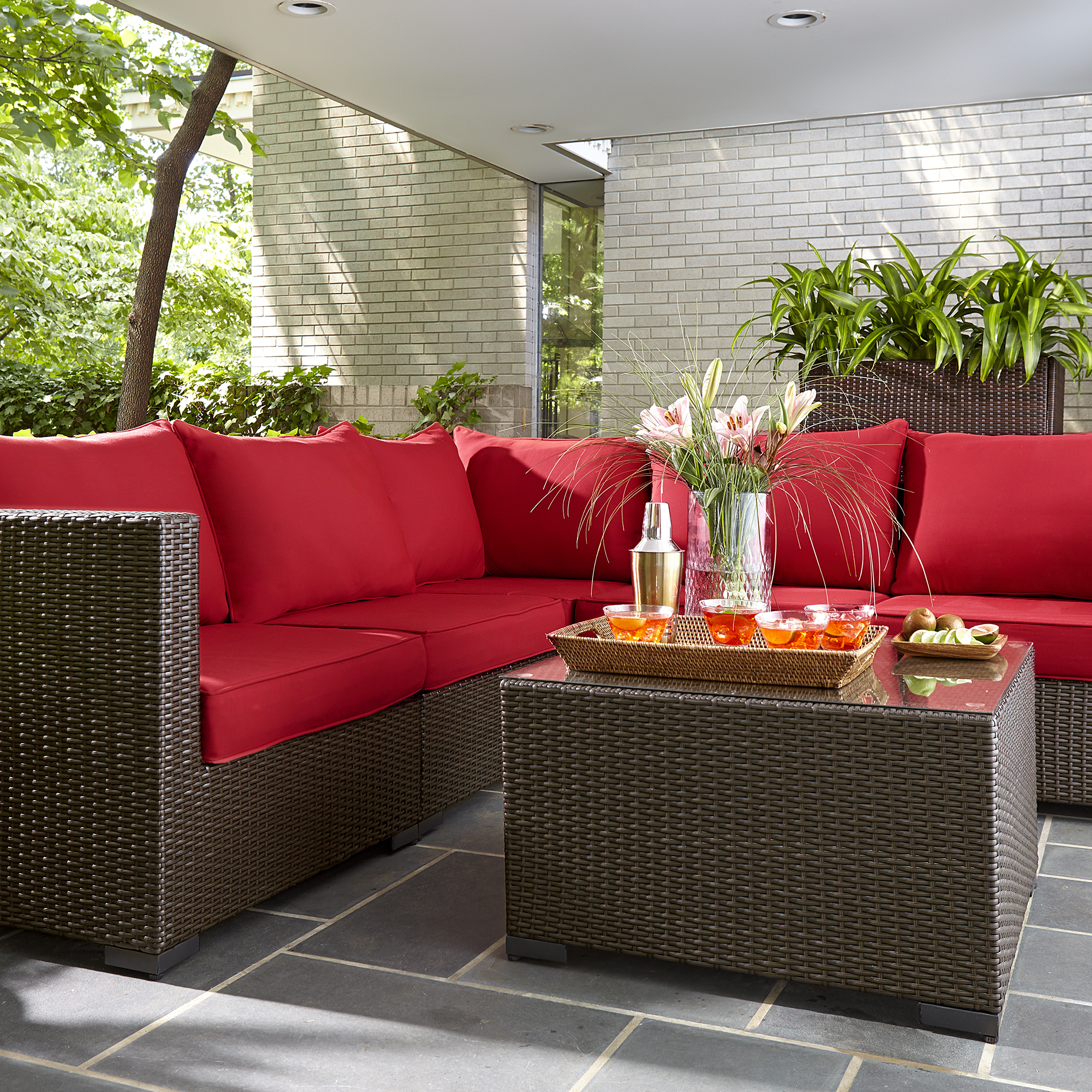 Grand Resort Osborn 6pc Sectional Seating Set- Red ... on Casual Living Patio id=42036