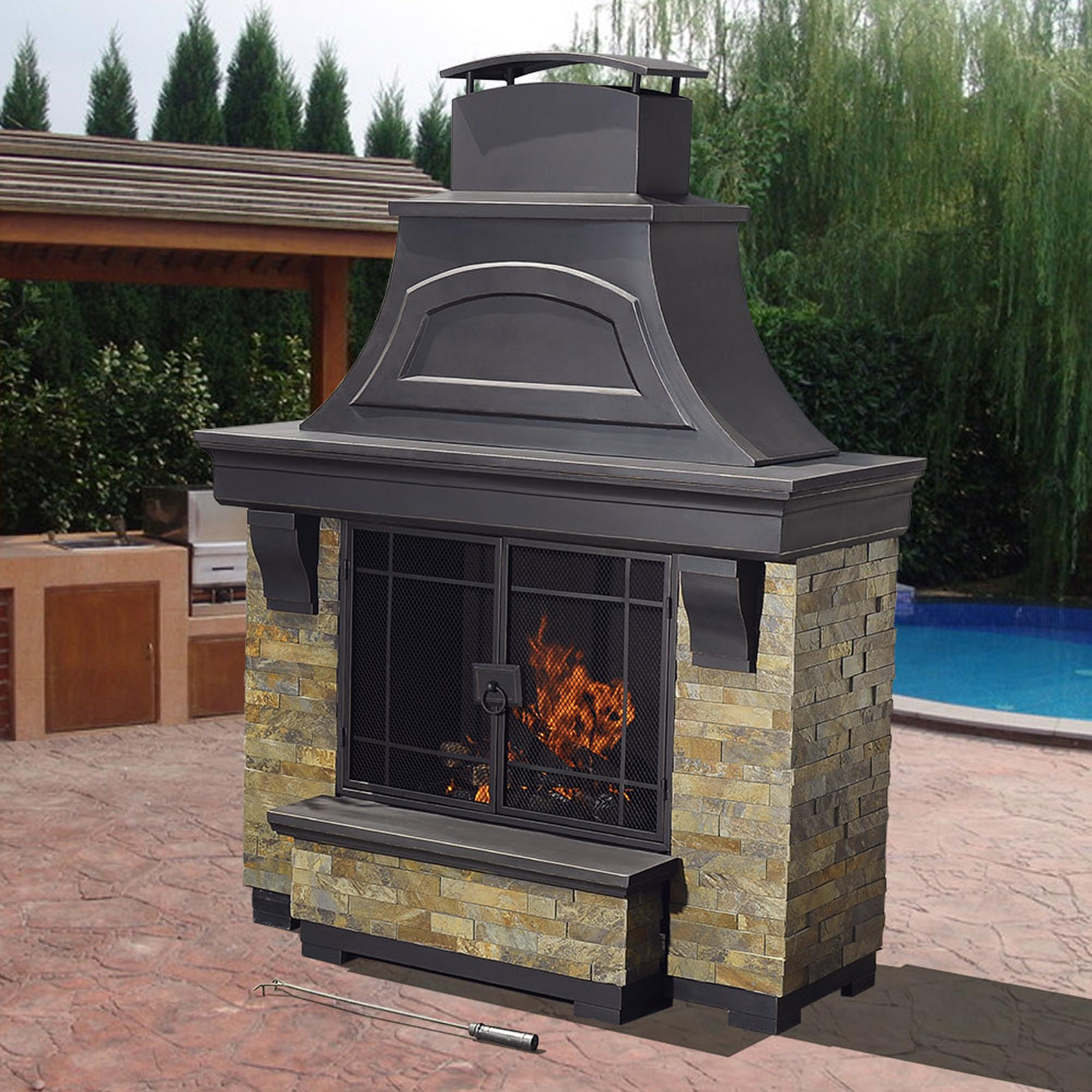 Sunjoy Nutmeg Wood Burning Fireplace on Costco Outdoor Fireplace id=40670