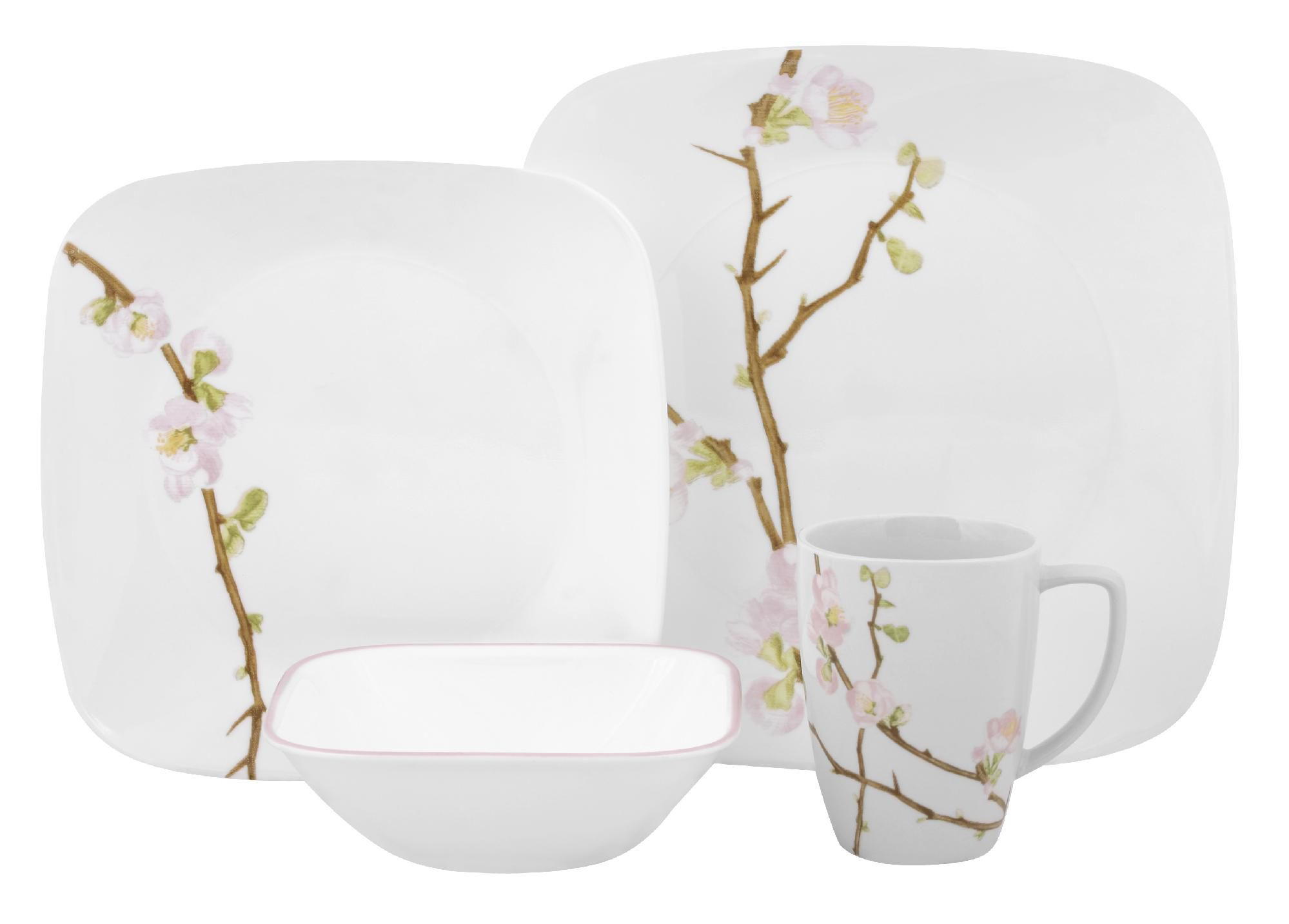 Corelle Square Cherry Blossom 16-Piece Dinnerware Set