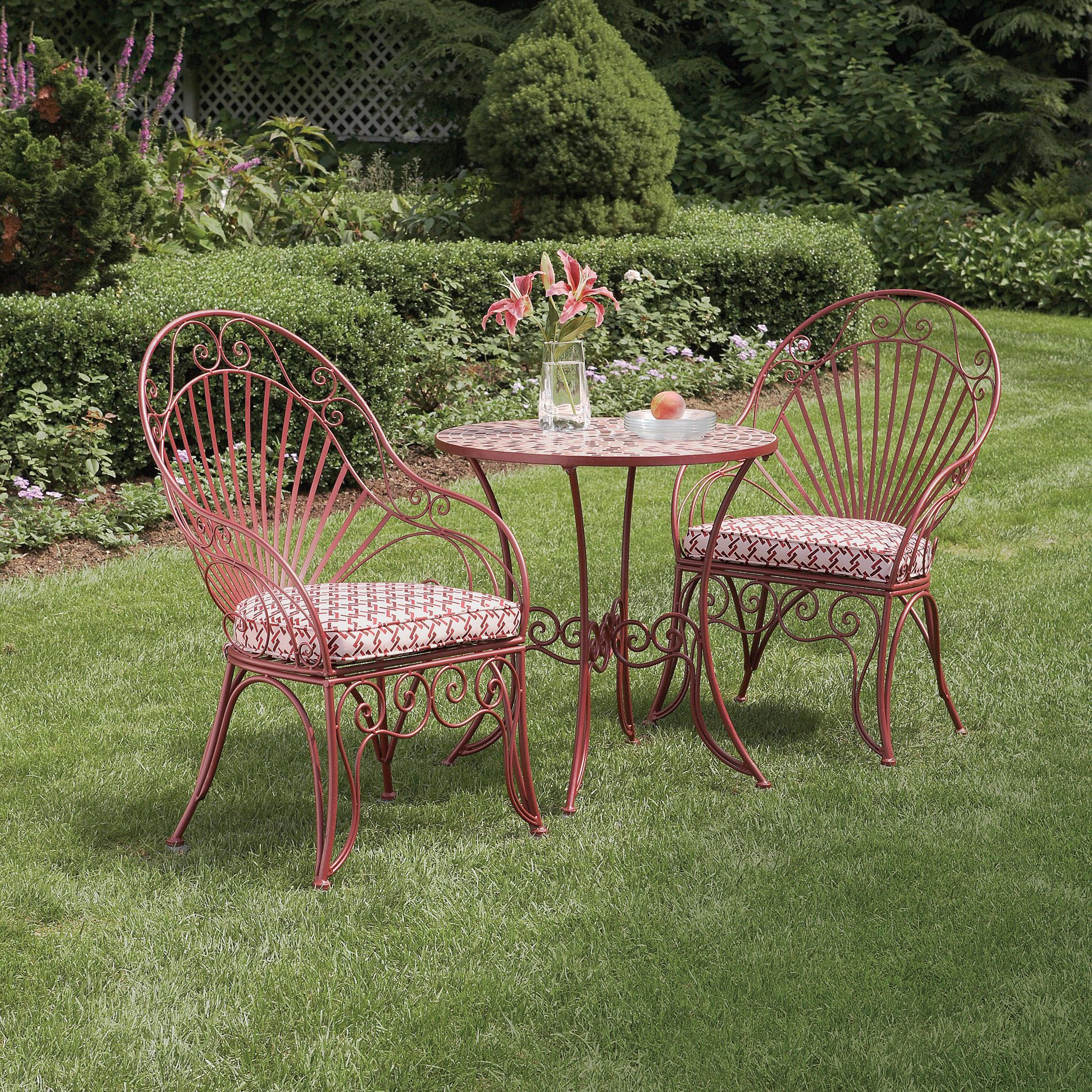 Garden Oasis - L-BS299SST-1 - Wrought Iron Bistro Set with ... on Outdoor Living Iron Mosaic id=85033