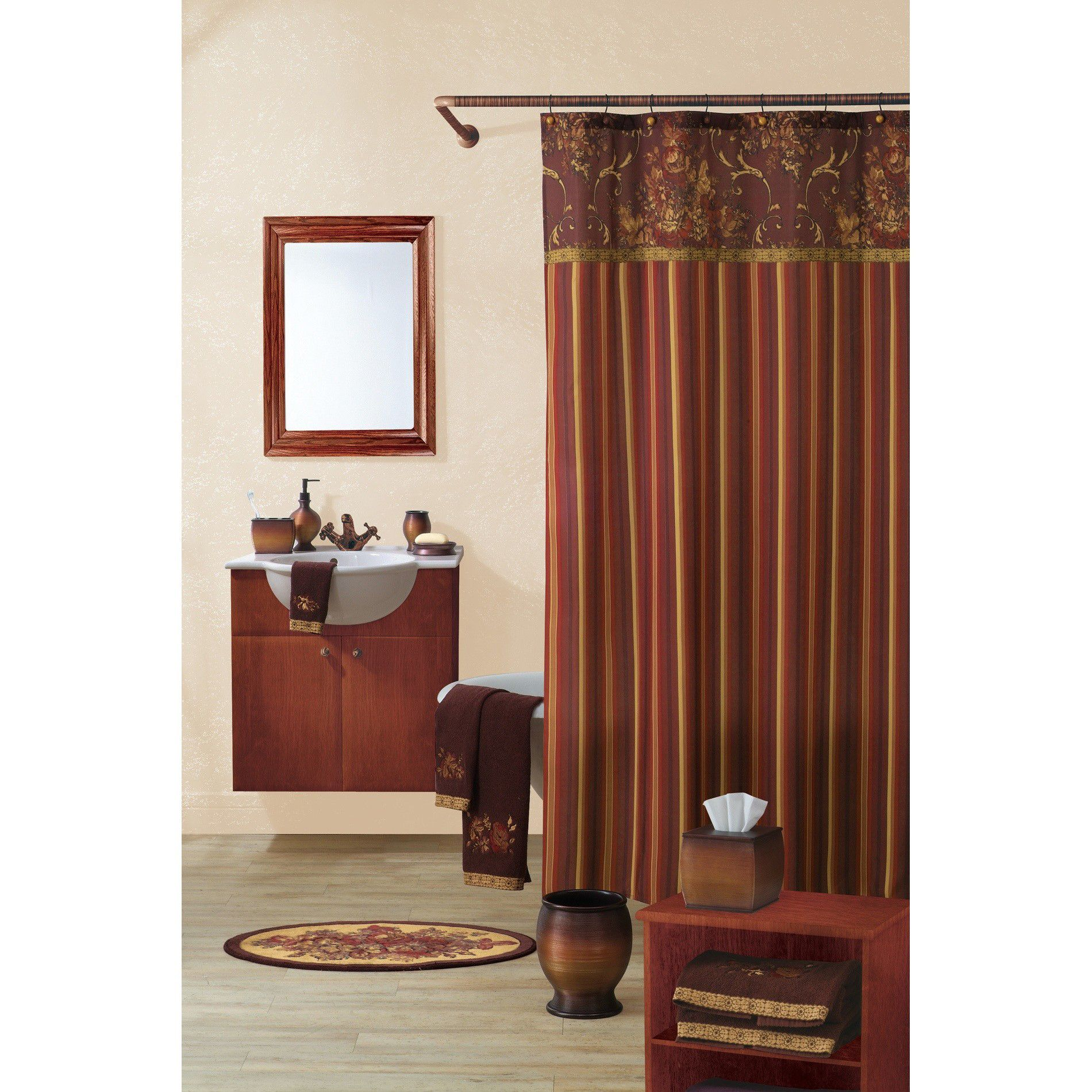 Country Living Bouquet Of Roses Fabric Shower Curtain 70x72