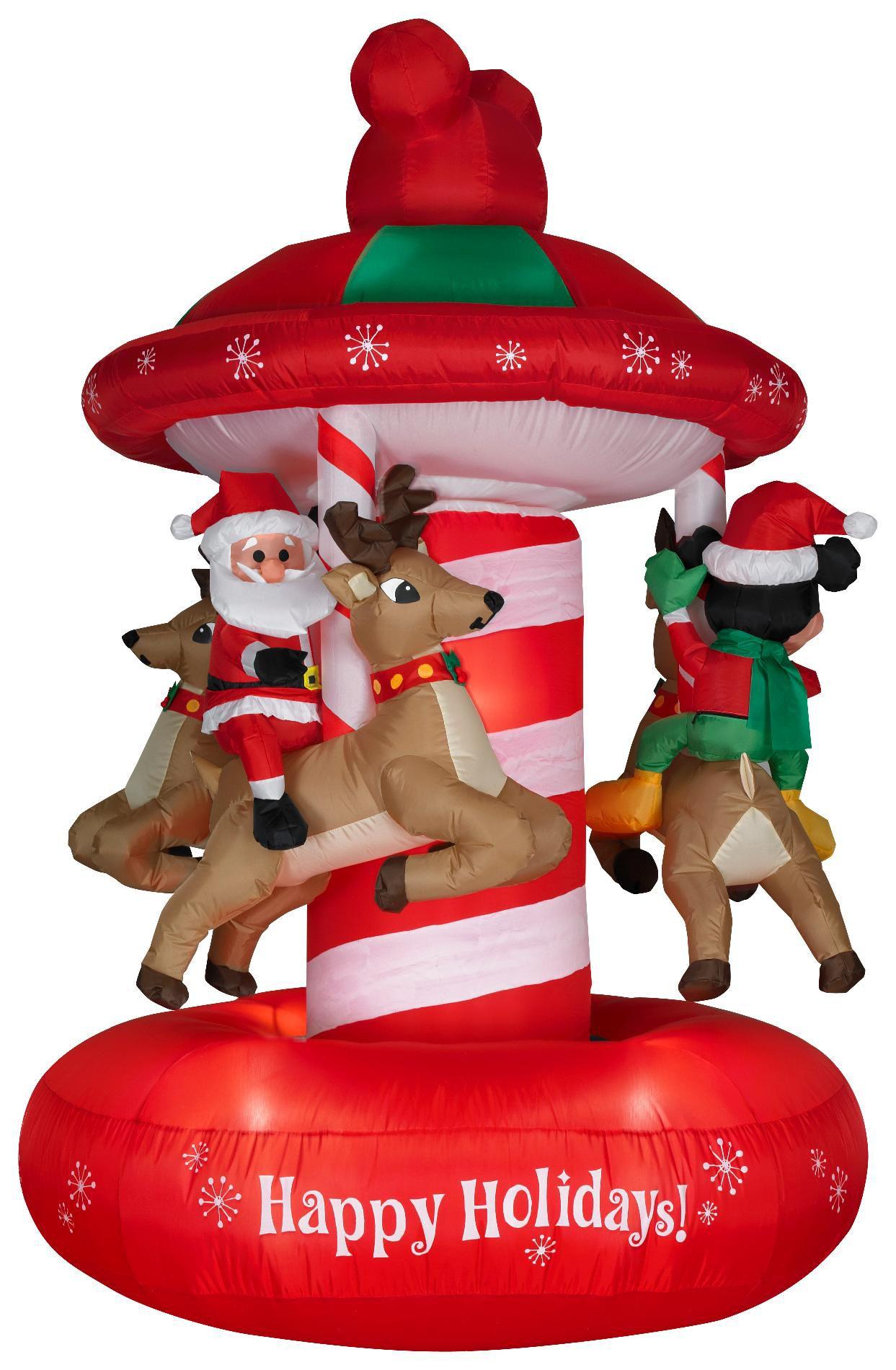 Disney Animated Airblown Christmas Mickey Carousel