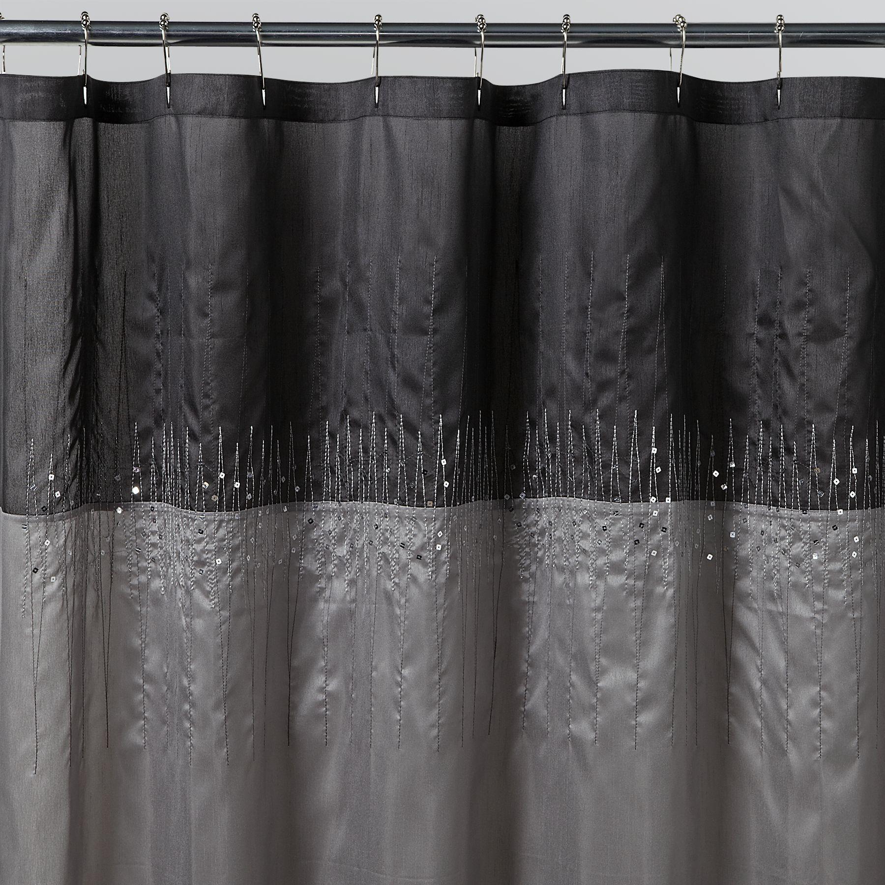 Essential Home Disco Silver Fabric Shower Curtain