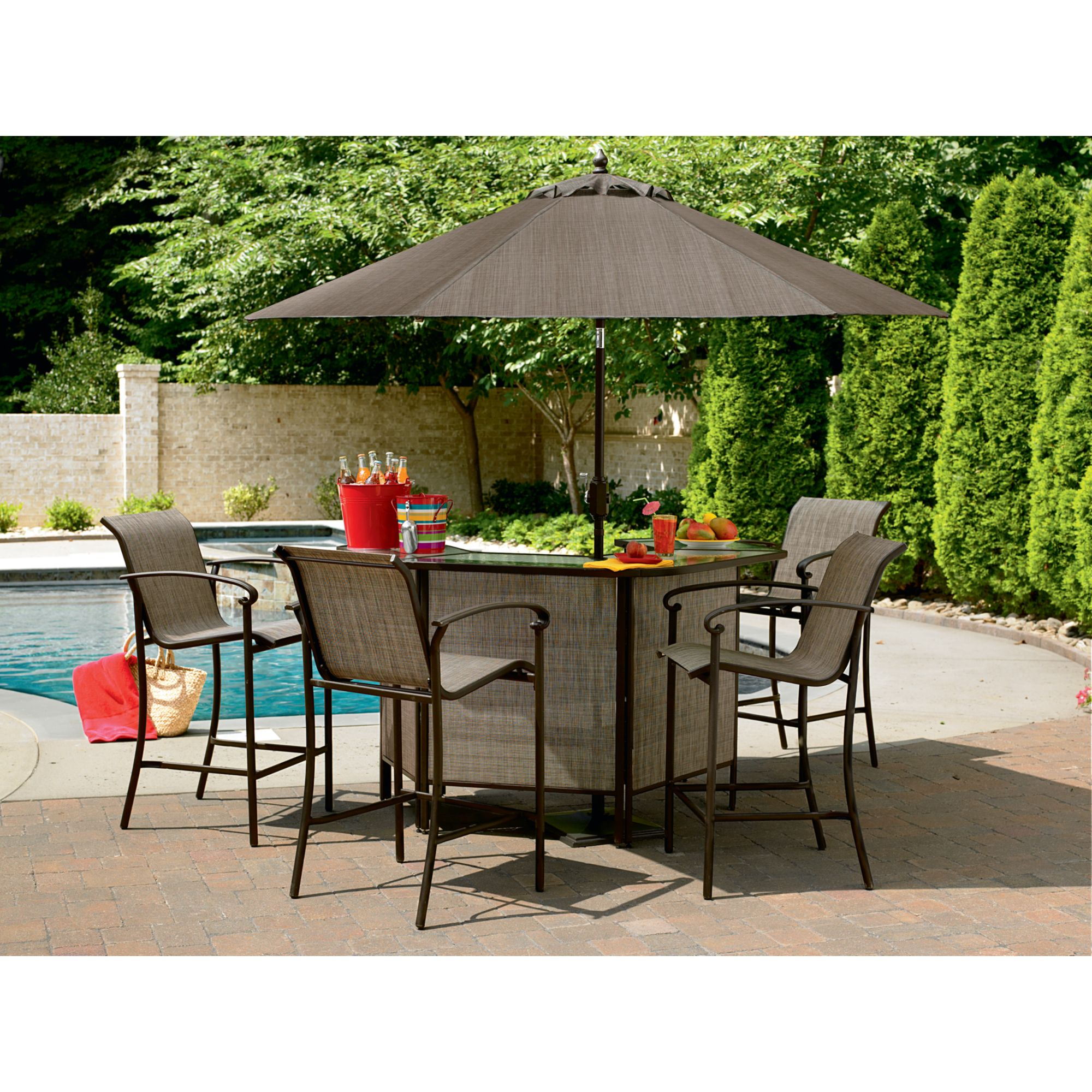 outdoor patio bar sets furniture Garden Oasis East Point 5 Pc. Bar Set