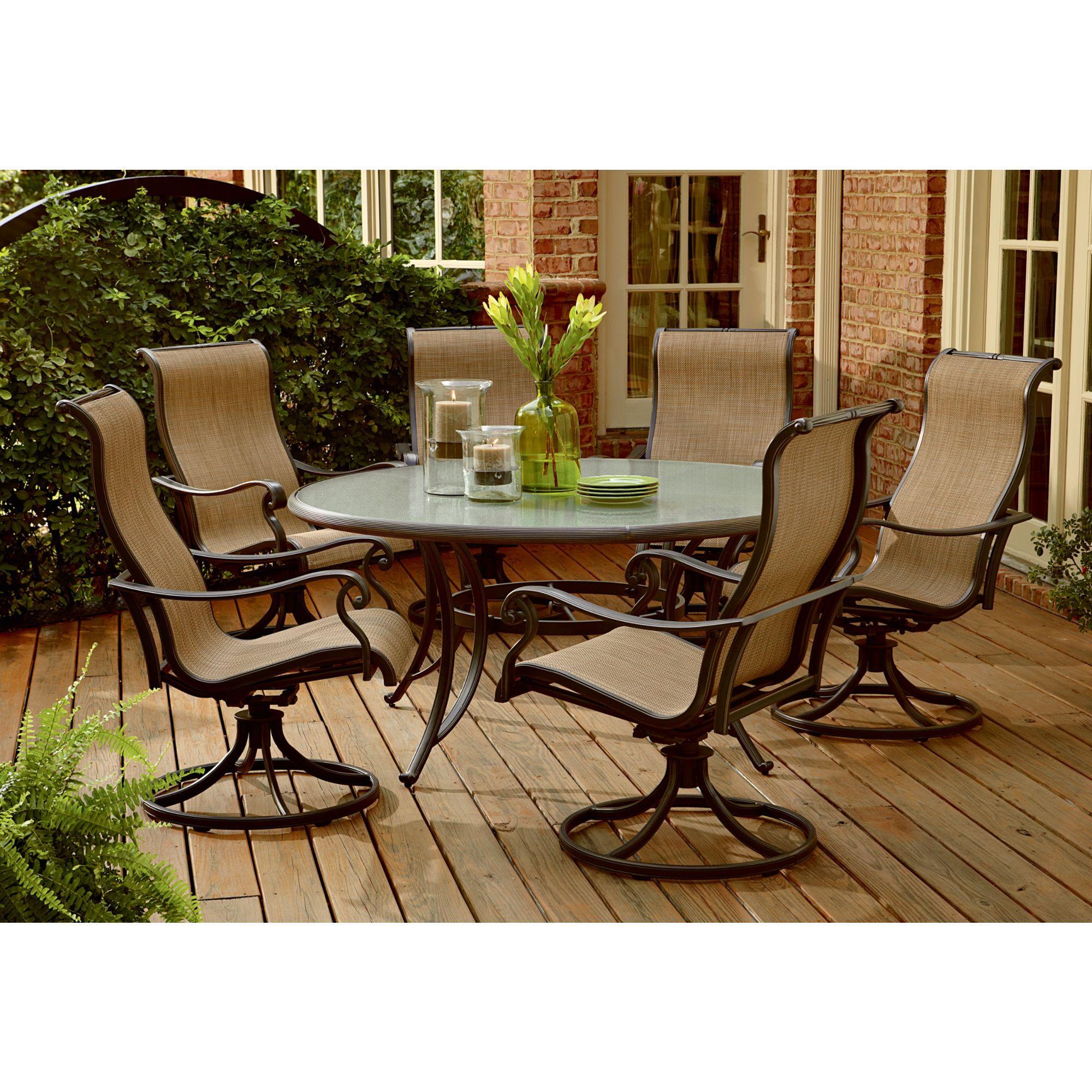 agio international panorama 7 pc glass dining set on Agio Patio Furniture id=33440