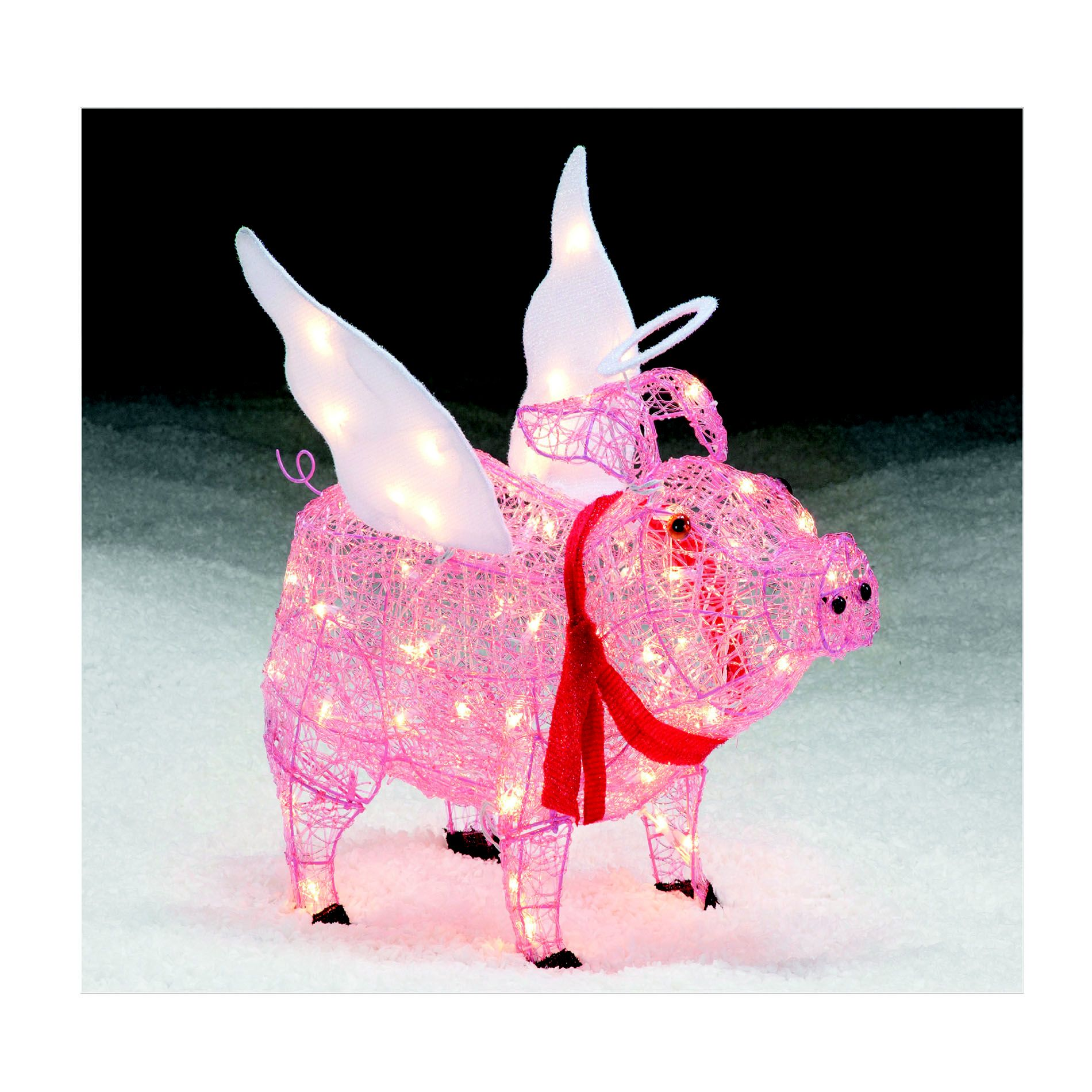 PIG ANGEL Lawn Figures Spread Smiles This Christmas With