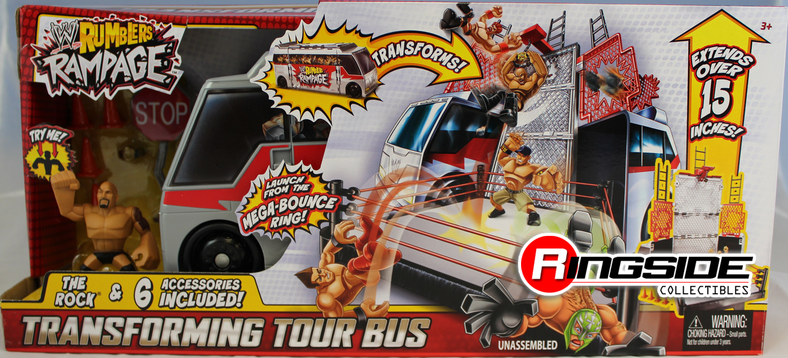 WWE Transforming Tour Bus W The Rock Rumblers Rampage