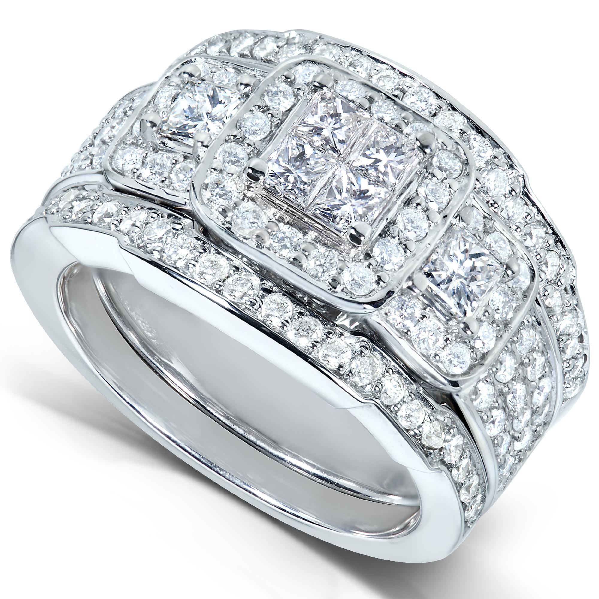 Diamond Me Princess Diamond Wedding Rings Set 1 13 Carat