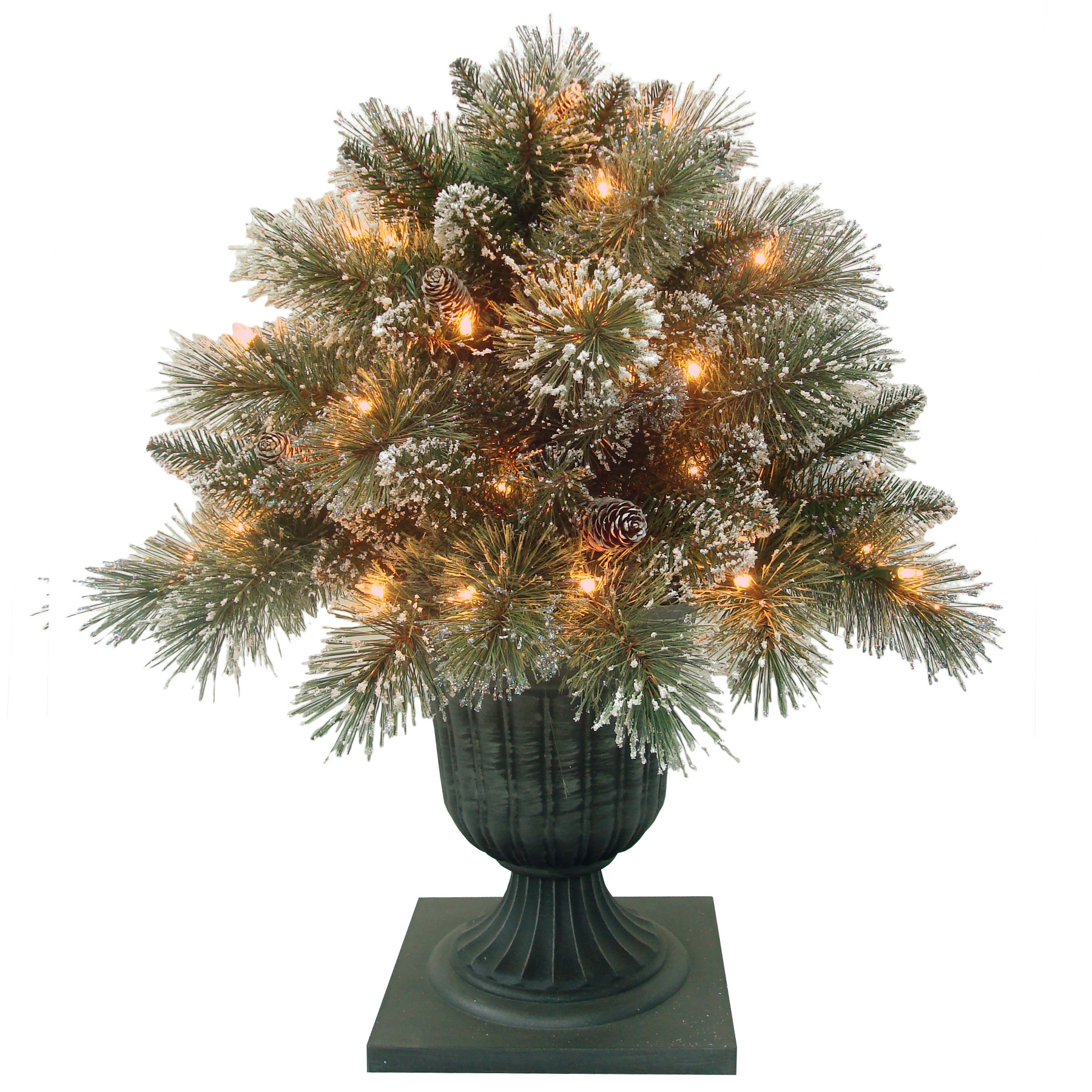 National Tree Company 26 Glittery Bristle Porch Bush With Clear Lights Seasonal Christmas