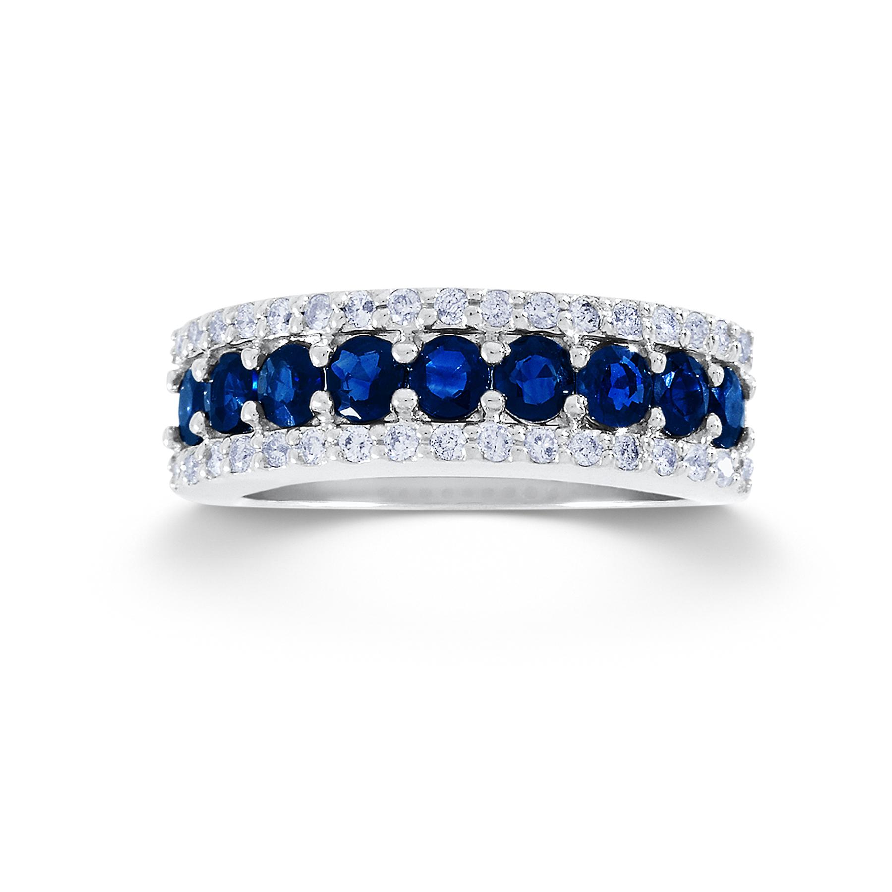 13 Cttw Round 10k White Gold Diamond Amp Sapphire Wedding Band
