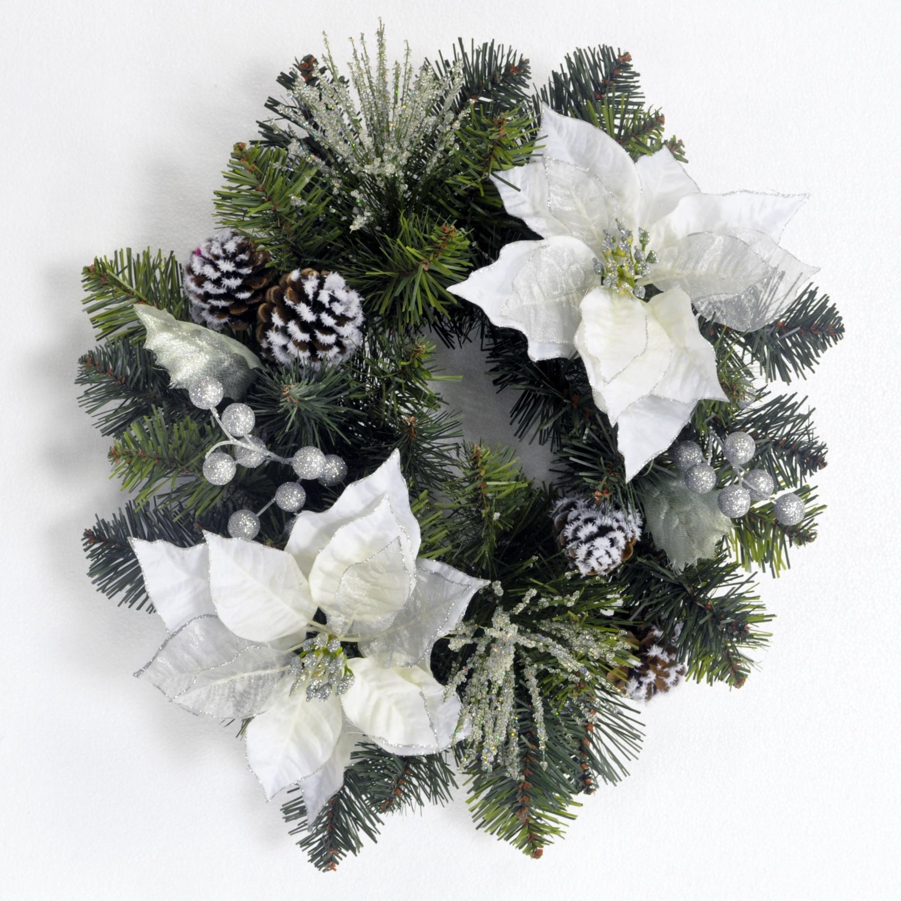 Jaclyn Smith Midnight Clear 18in White Poinsettia Wreath