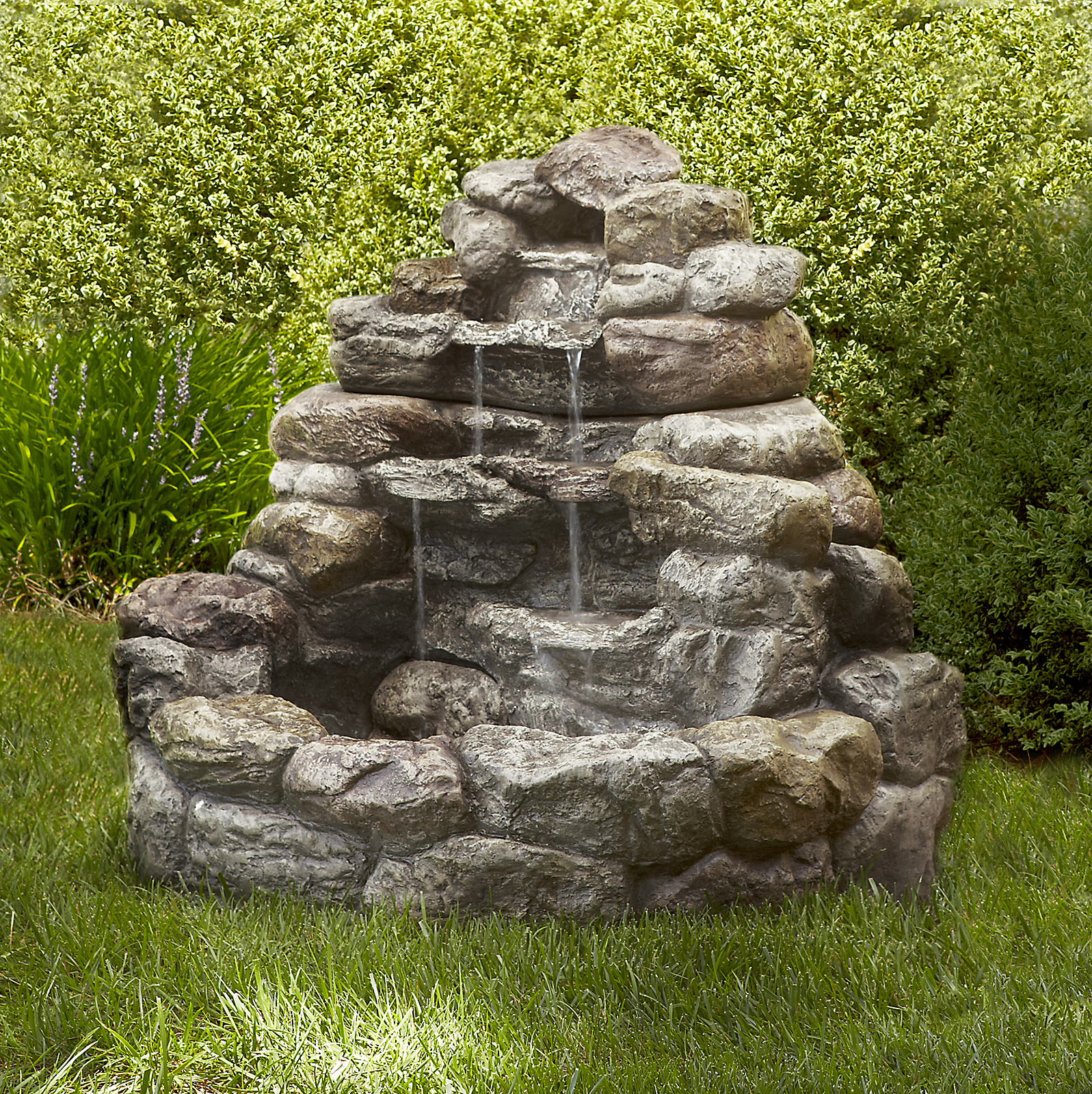Lighted Rock Fountain: Blissfully Relaxing Waterfall from ... on Rocks For Backyard  id=55467