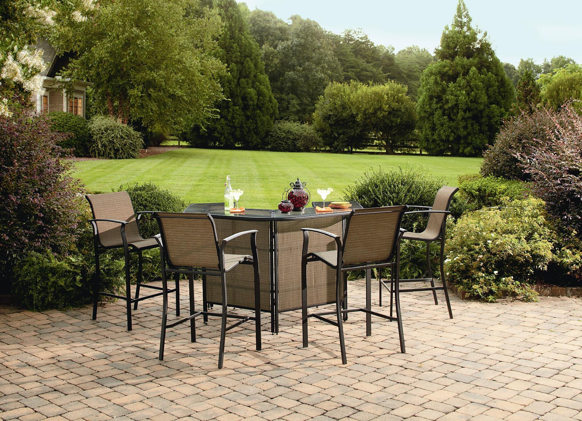 outdoor patio bar sets Garden Oasis Harrison 5-Piece Outdoor Bar Set in Tan - Sears