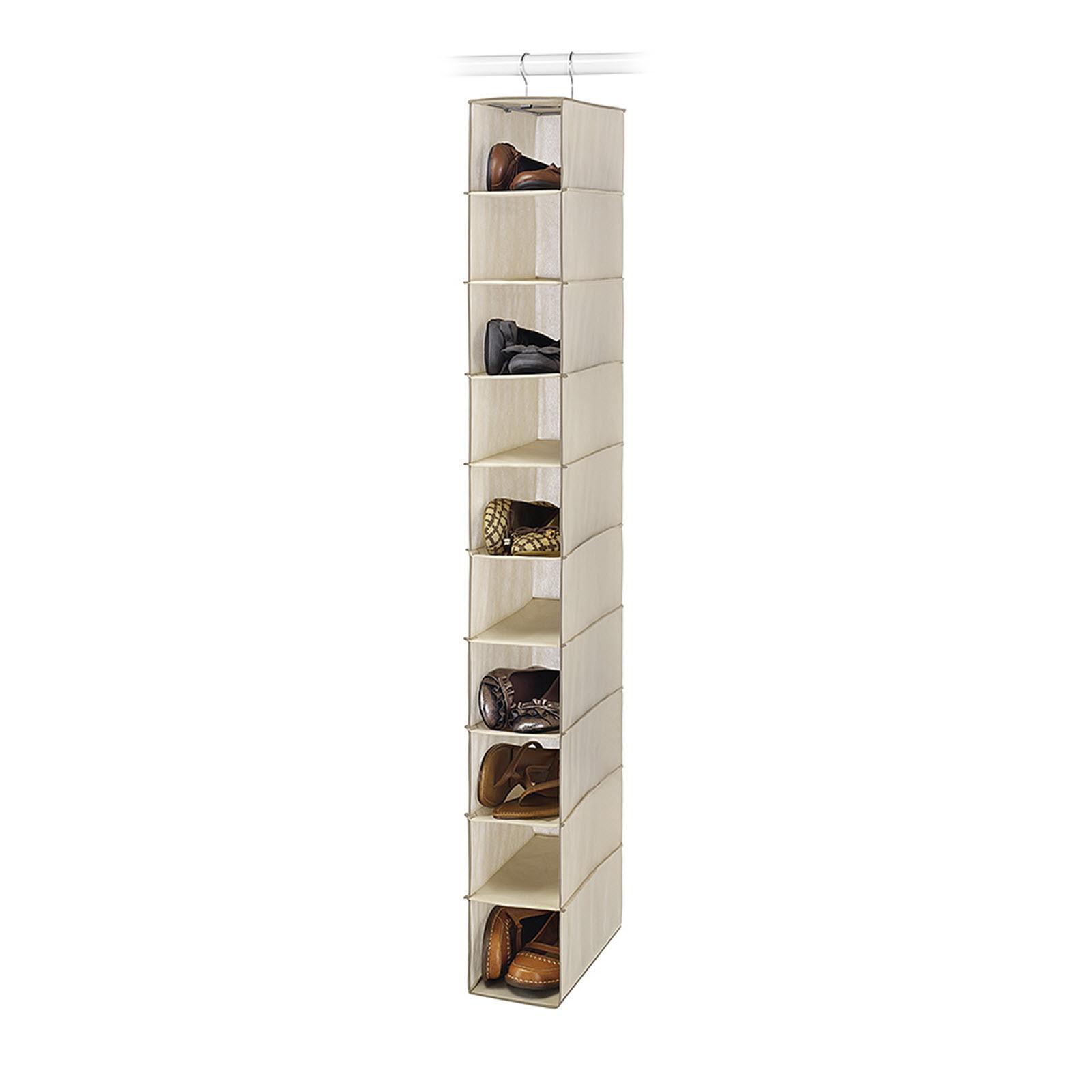 Essential Home 10 Shelf Tan Hanging Closet Shoe Organizer