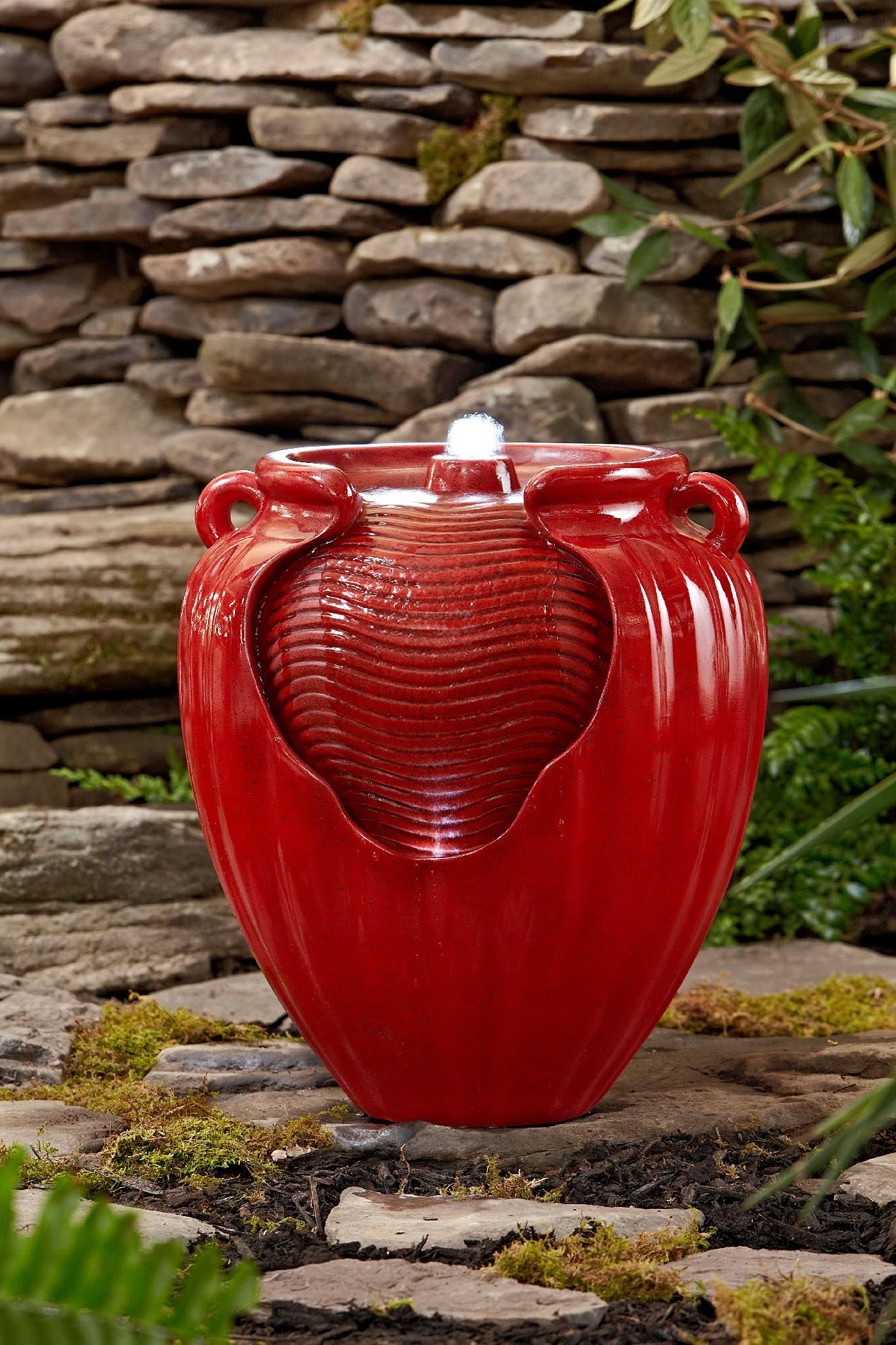 Essential Garden Glazed Pot Fountain Red